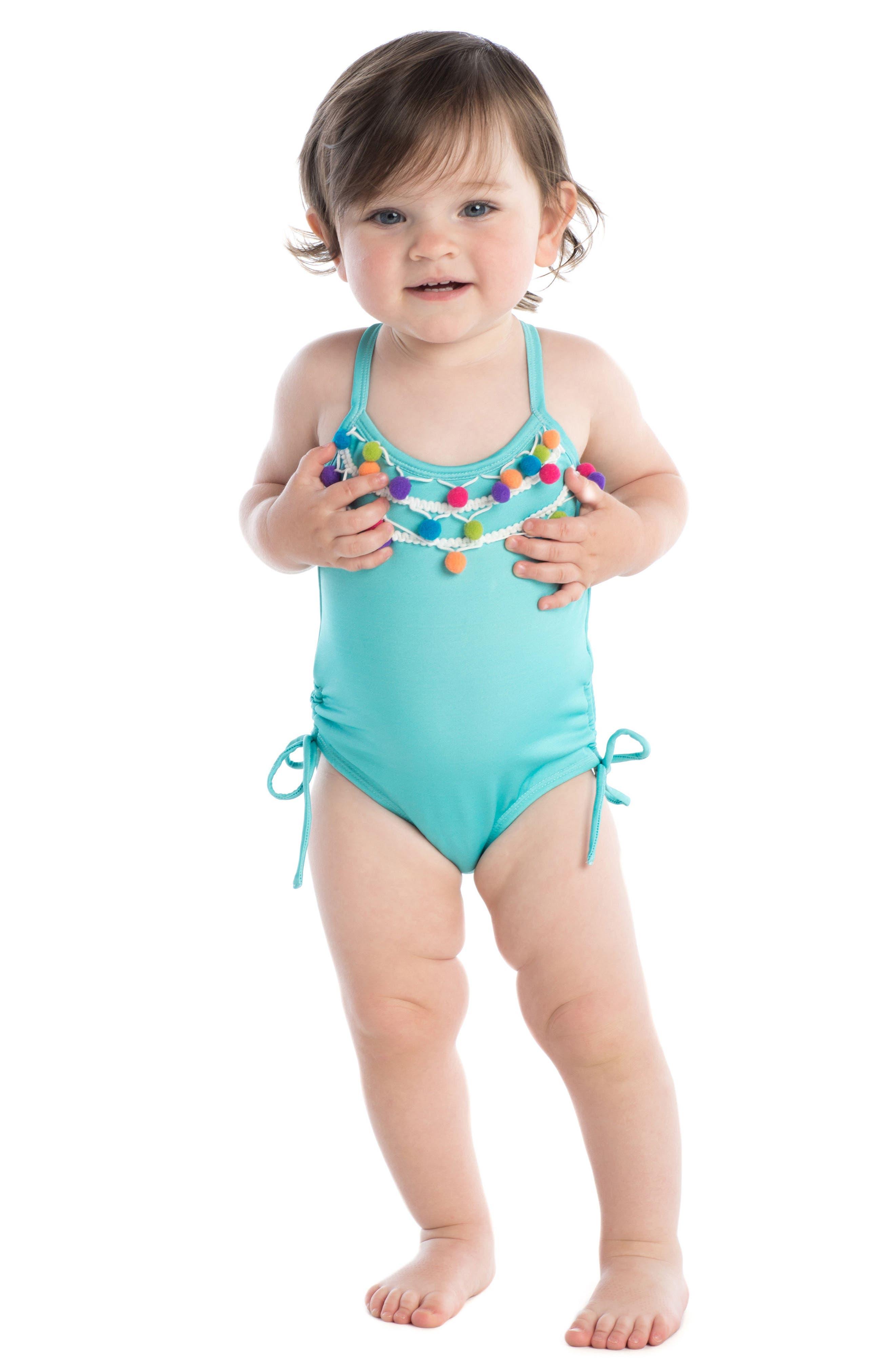 Pompom One-Piece Swimsuit,                             Alternate thumbnail 3, color,                             400