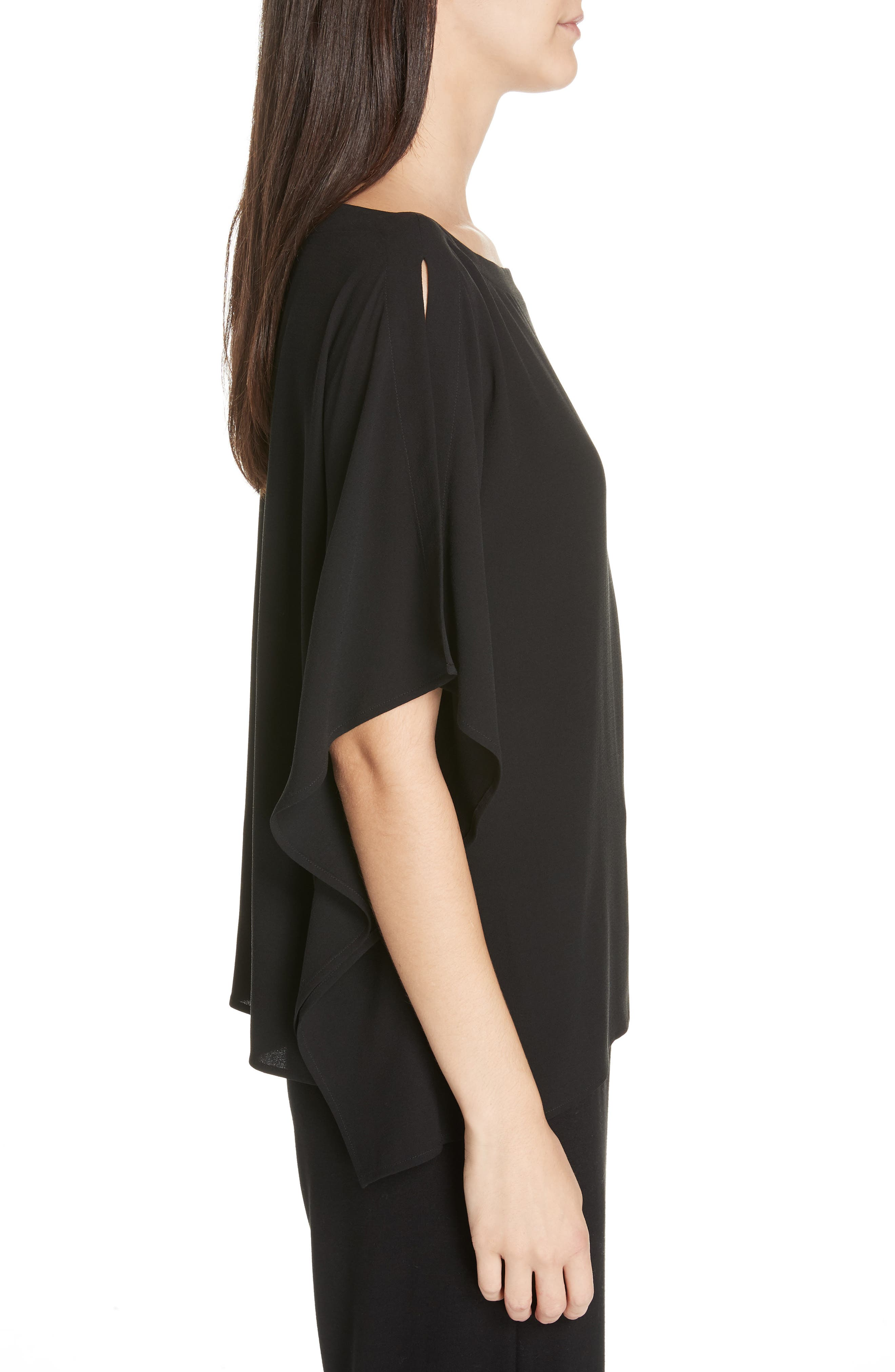 Slit Sleeve Silk Top,                             Alternate thumbnail 3, color,                             BLACK