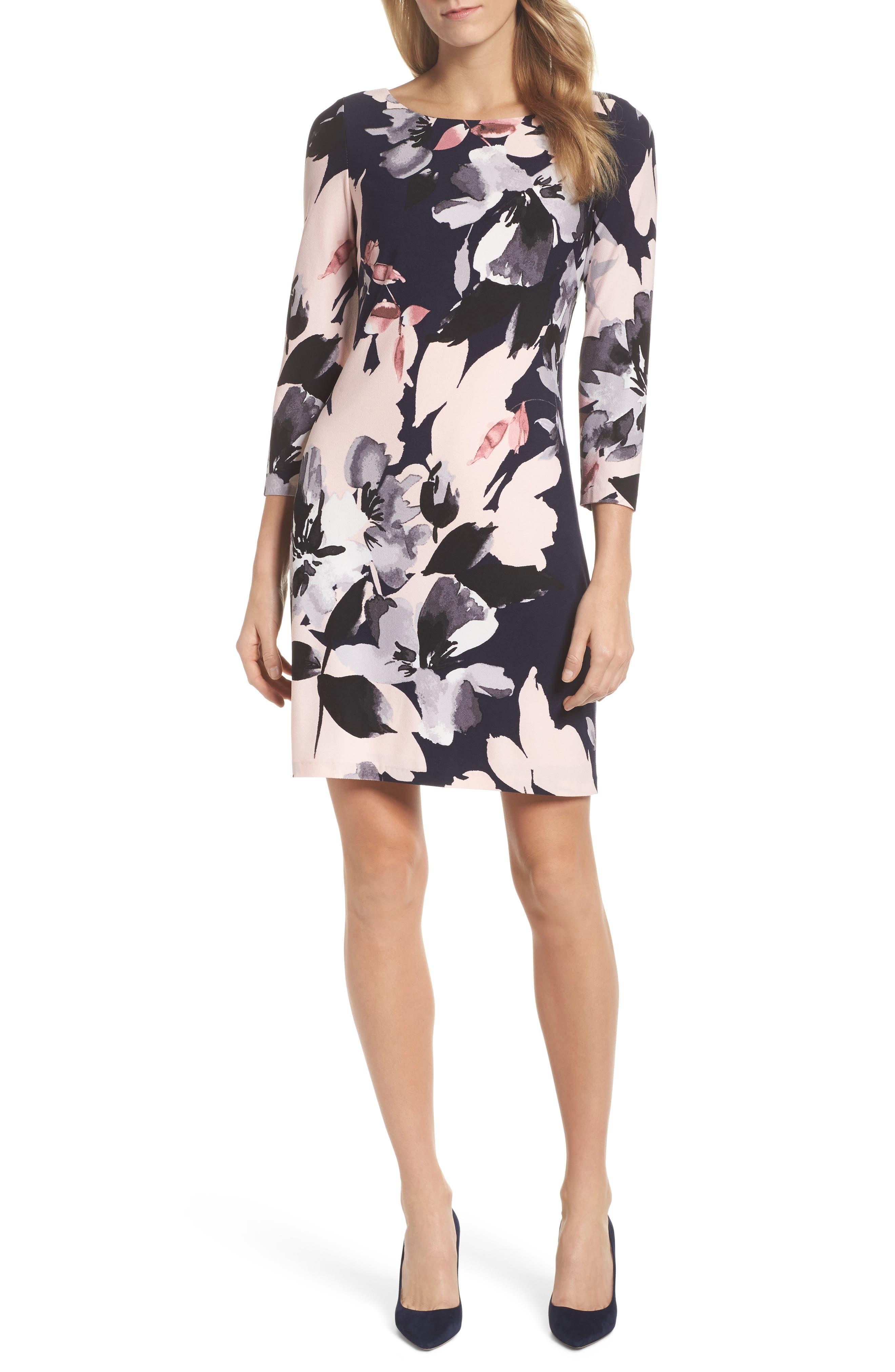 Crepe Shift Dress,                         Main,                         color, 470
