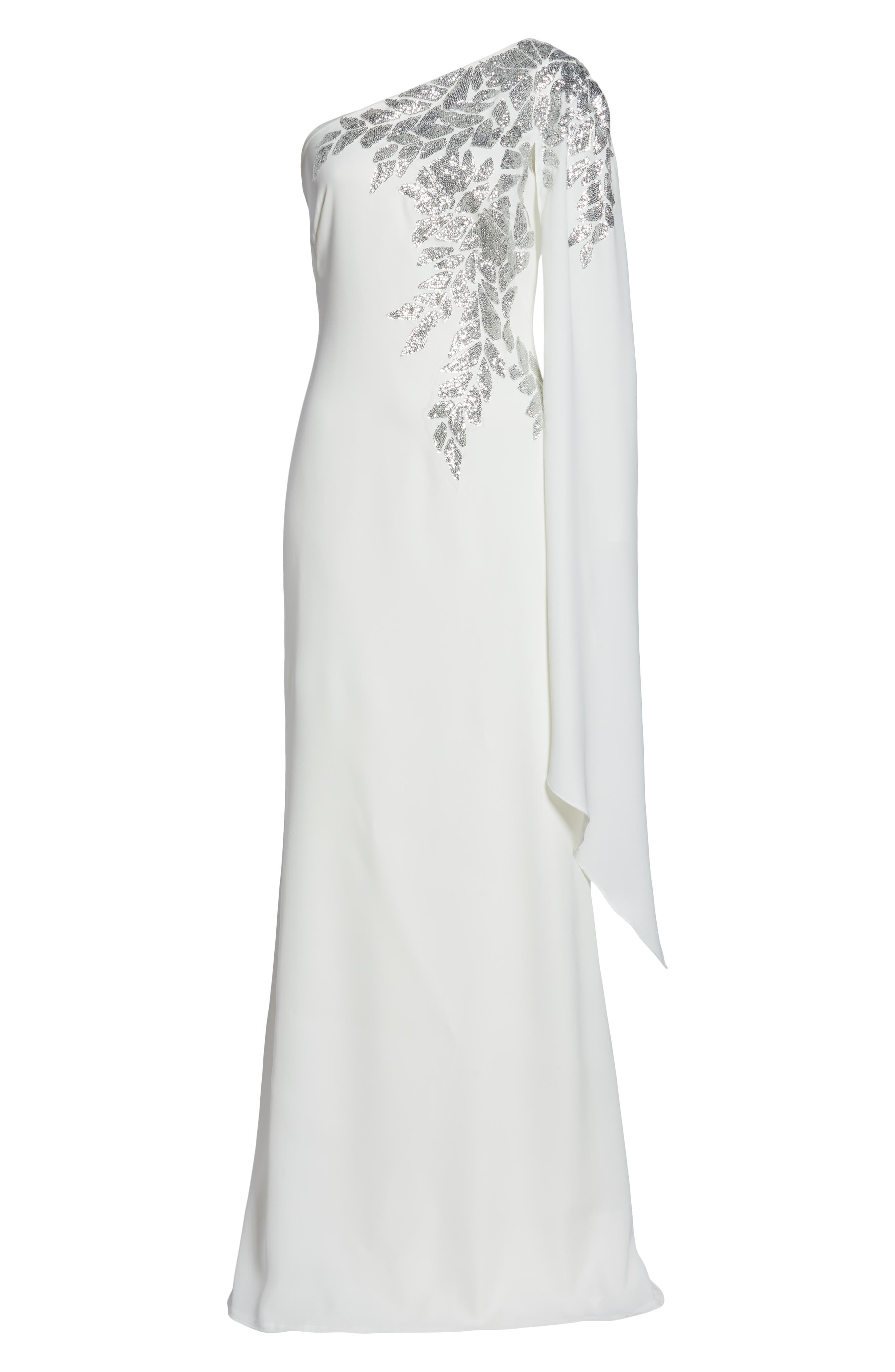TADASHI SHOJI,                             Cape Sleeve Crepe Evening Dress,                             Alternate thumbnail 7, color,                             IVORY/ SILVER
