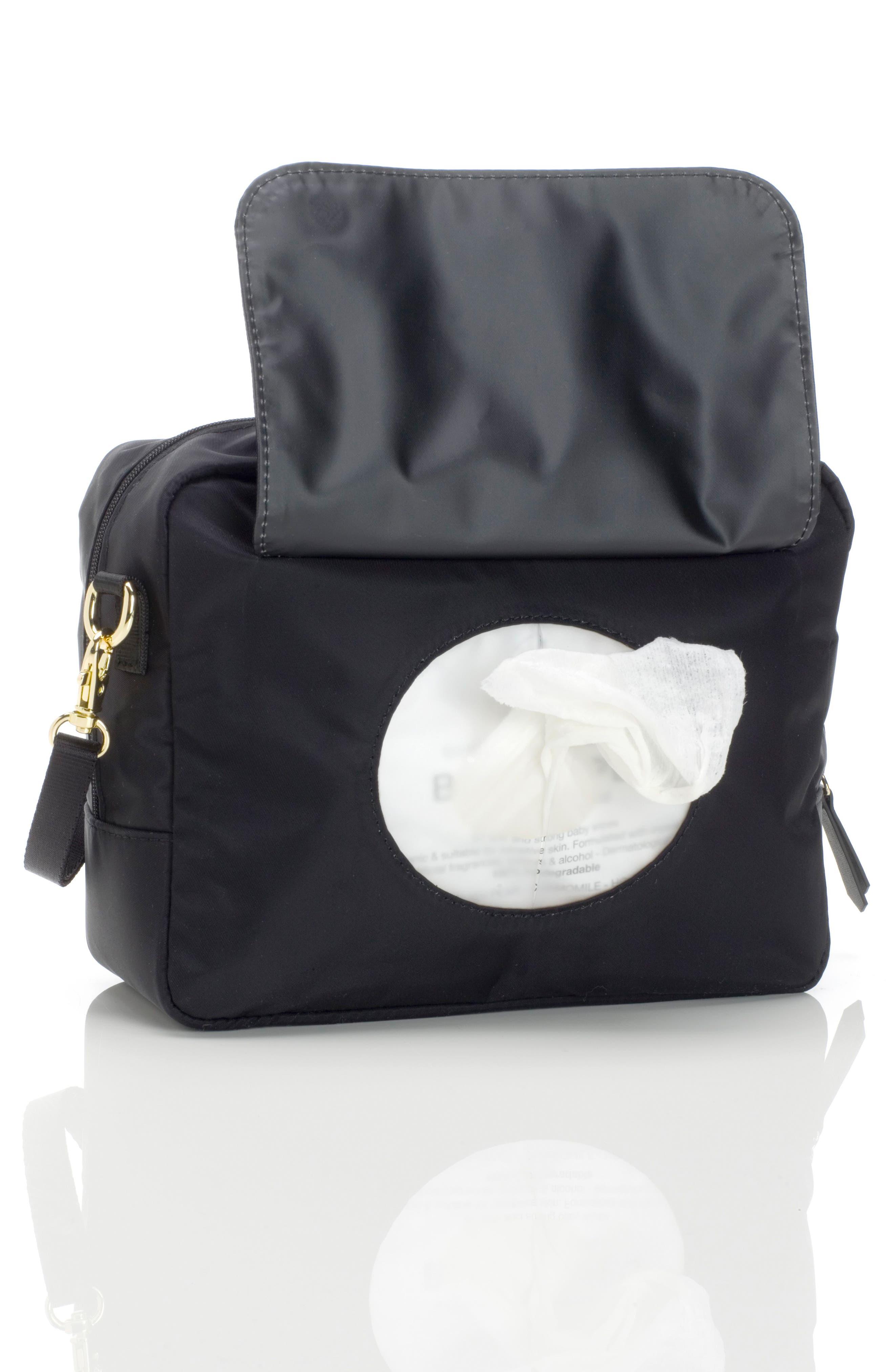 Mini Fix Crossbody Diaper Bag,                             Alternate thumbnail 4, color,                             BLACK