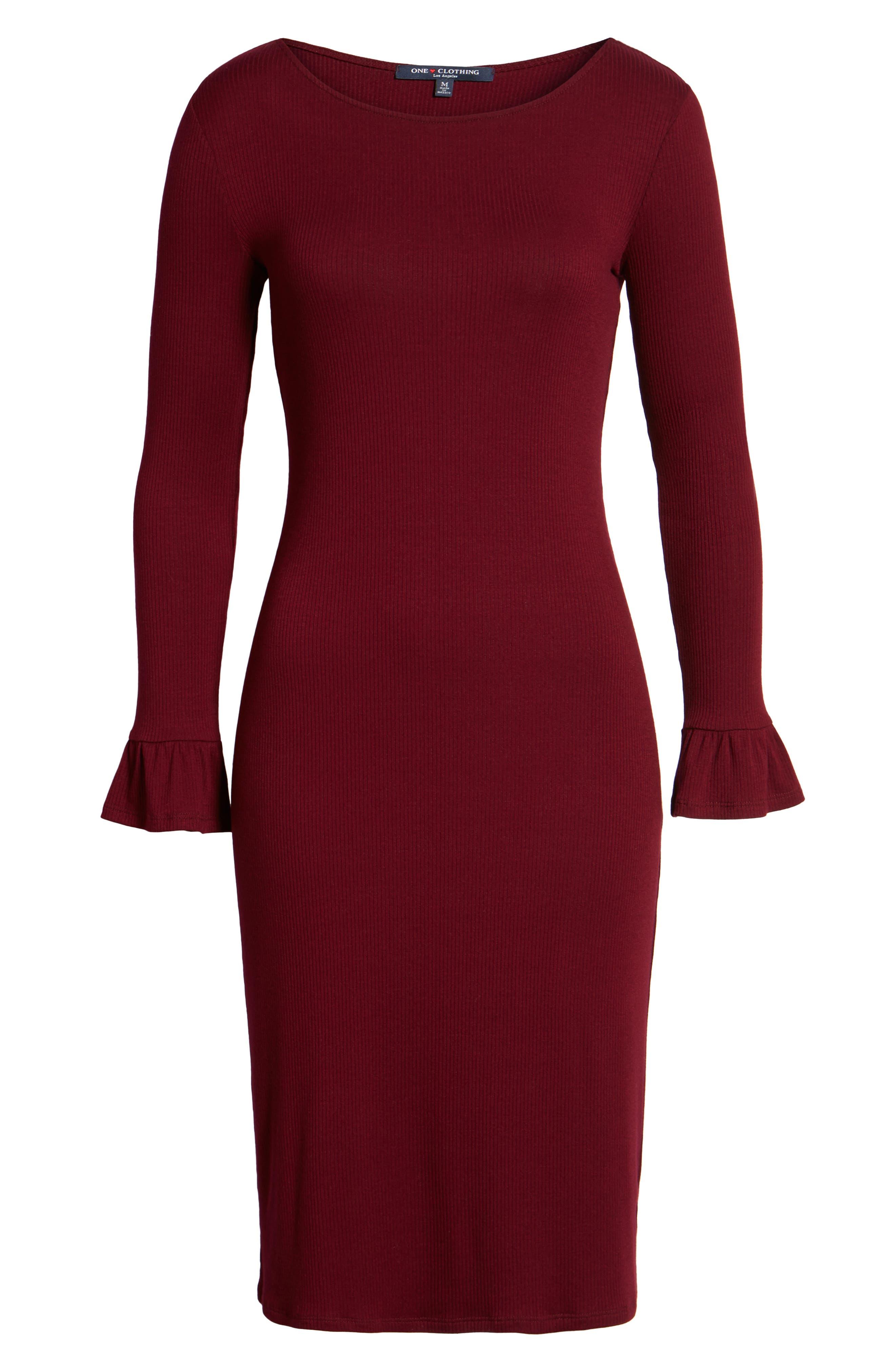 Ruffle Sleeve Ribbed Midi Dress,                             Alternate thumbnail 12, color,