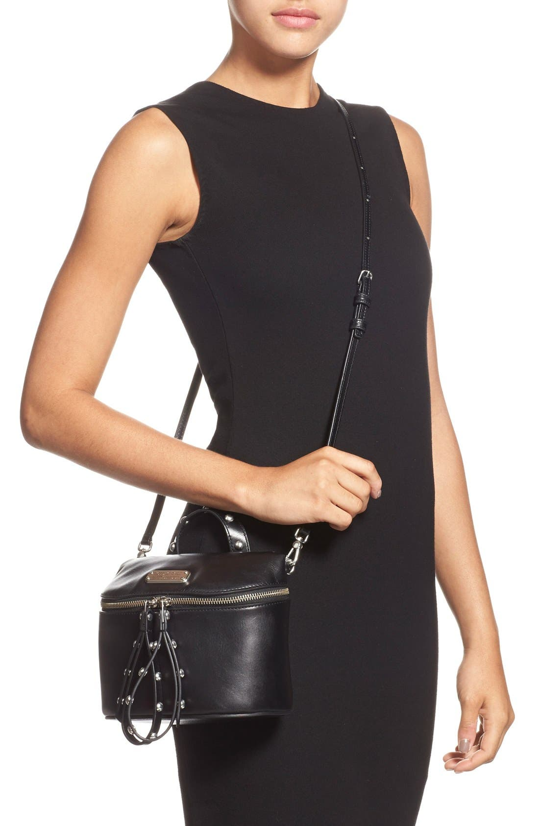 MARC BY MARC JACOBS 'Canteen Rivets' Crossbody Bag,                             Alternate thumbnail 4, color,                             001