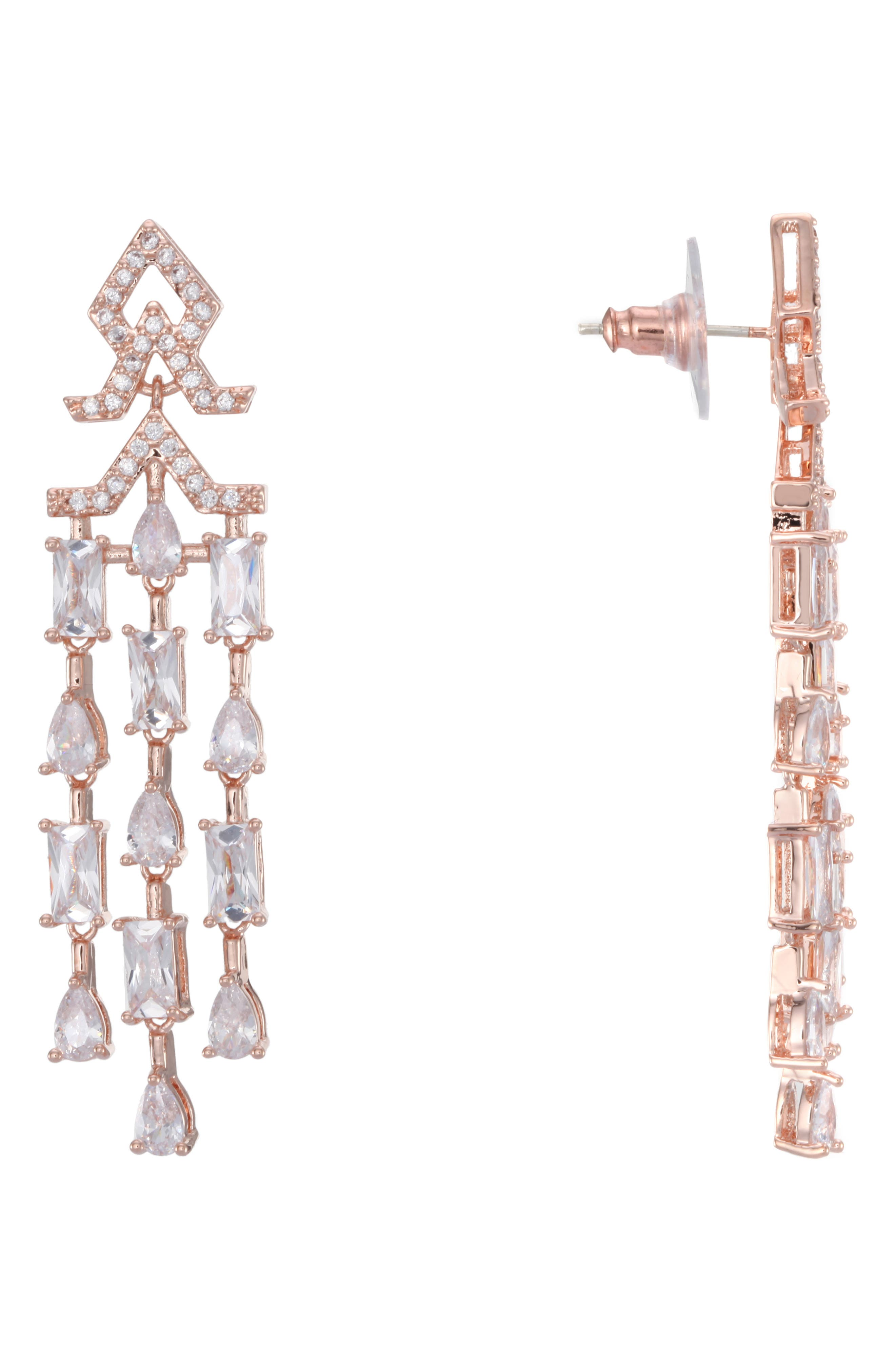 Nina Accessories MINI CUBIC ZIRCONIA FRINGE EARRINGS