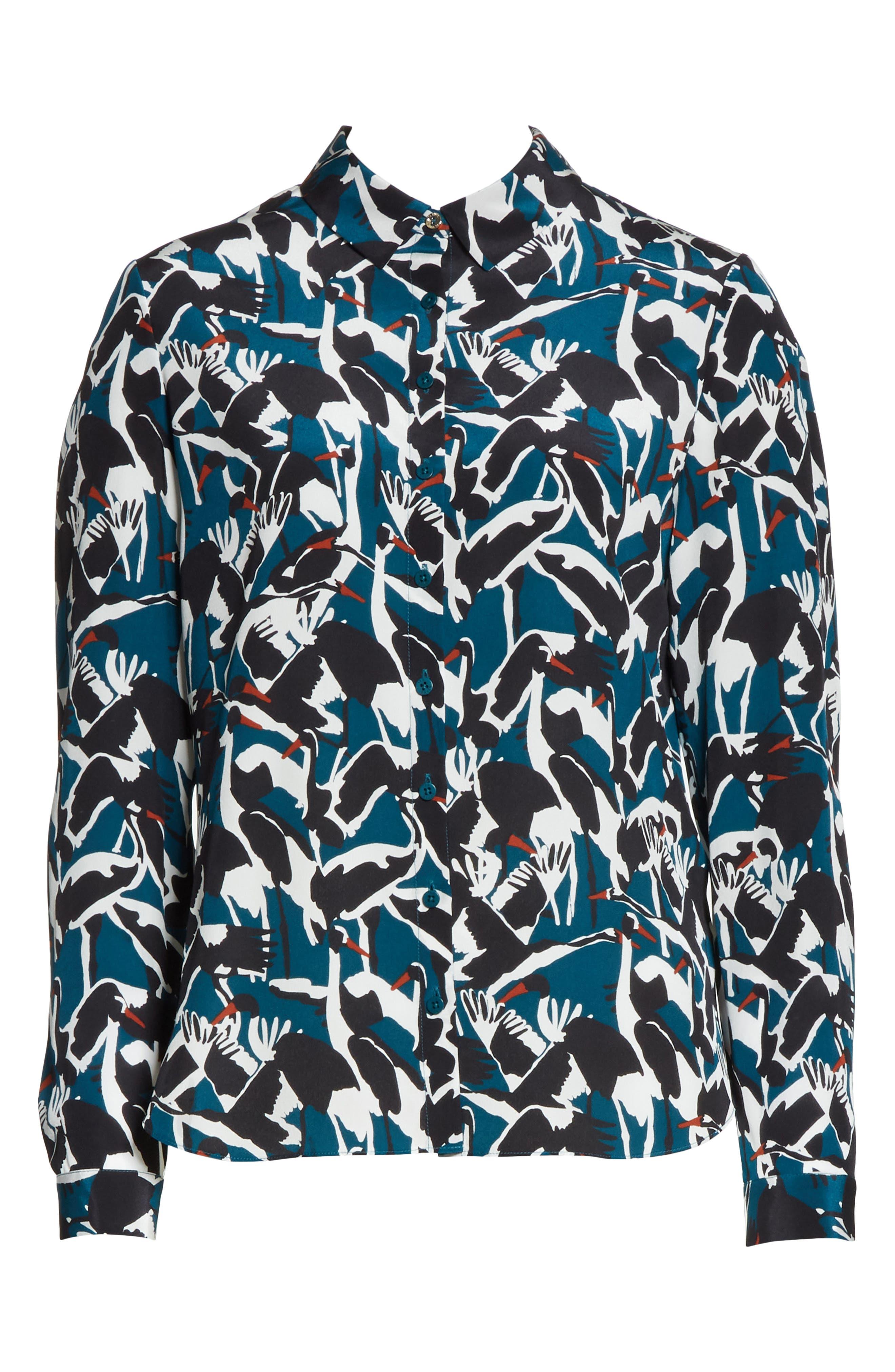 Colour by Numbers Crane Print Silk Shirt,                             Alternate thumbnail 6, color,                             440