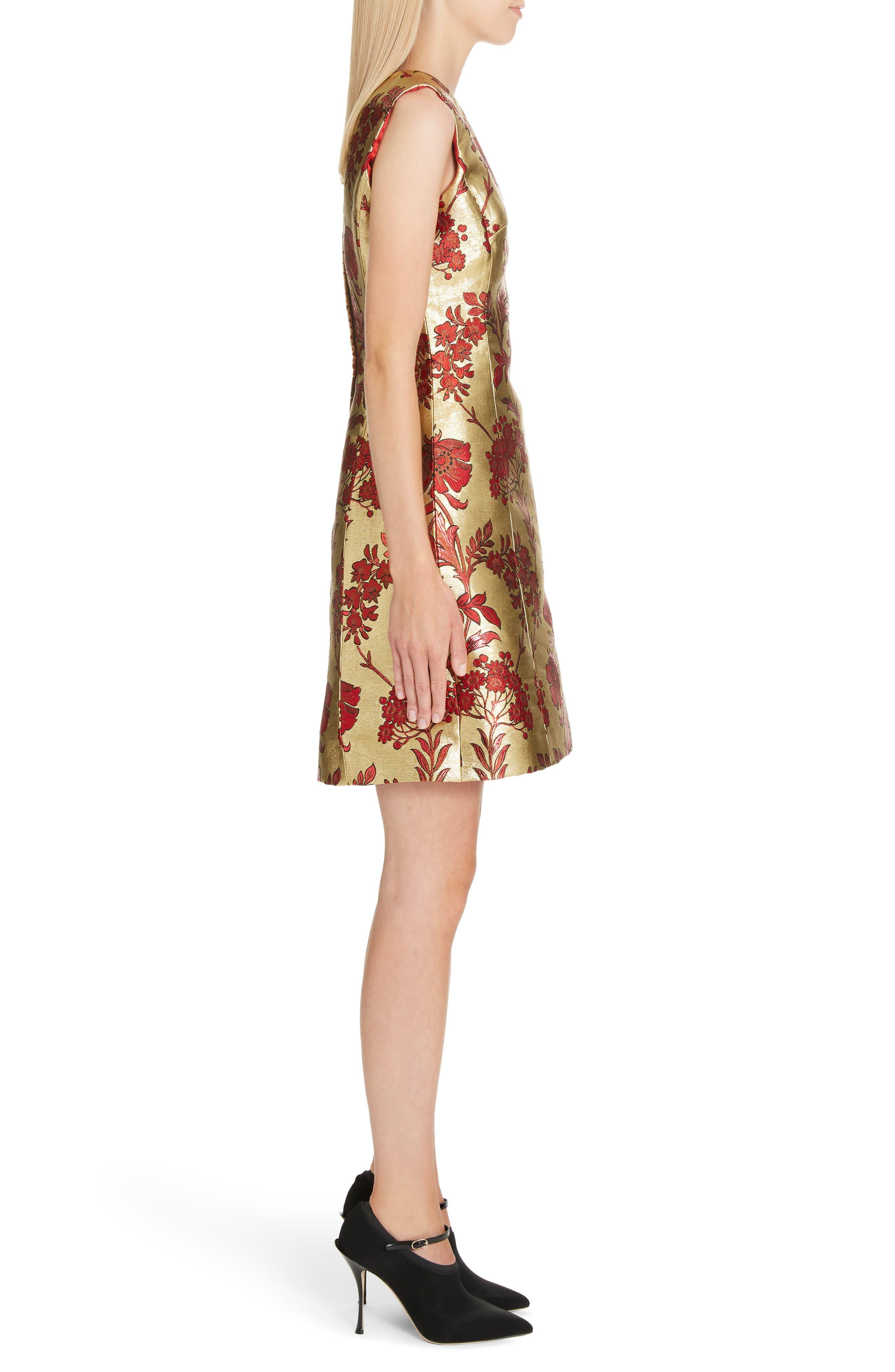 Metallic Jacquard A-Line Dress,                             Alternate thumbnail 3, color,                             S8351 JACQUARD LUREX FLORAL