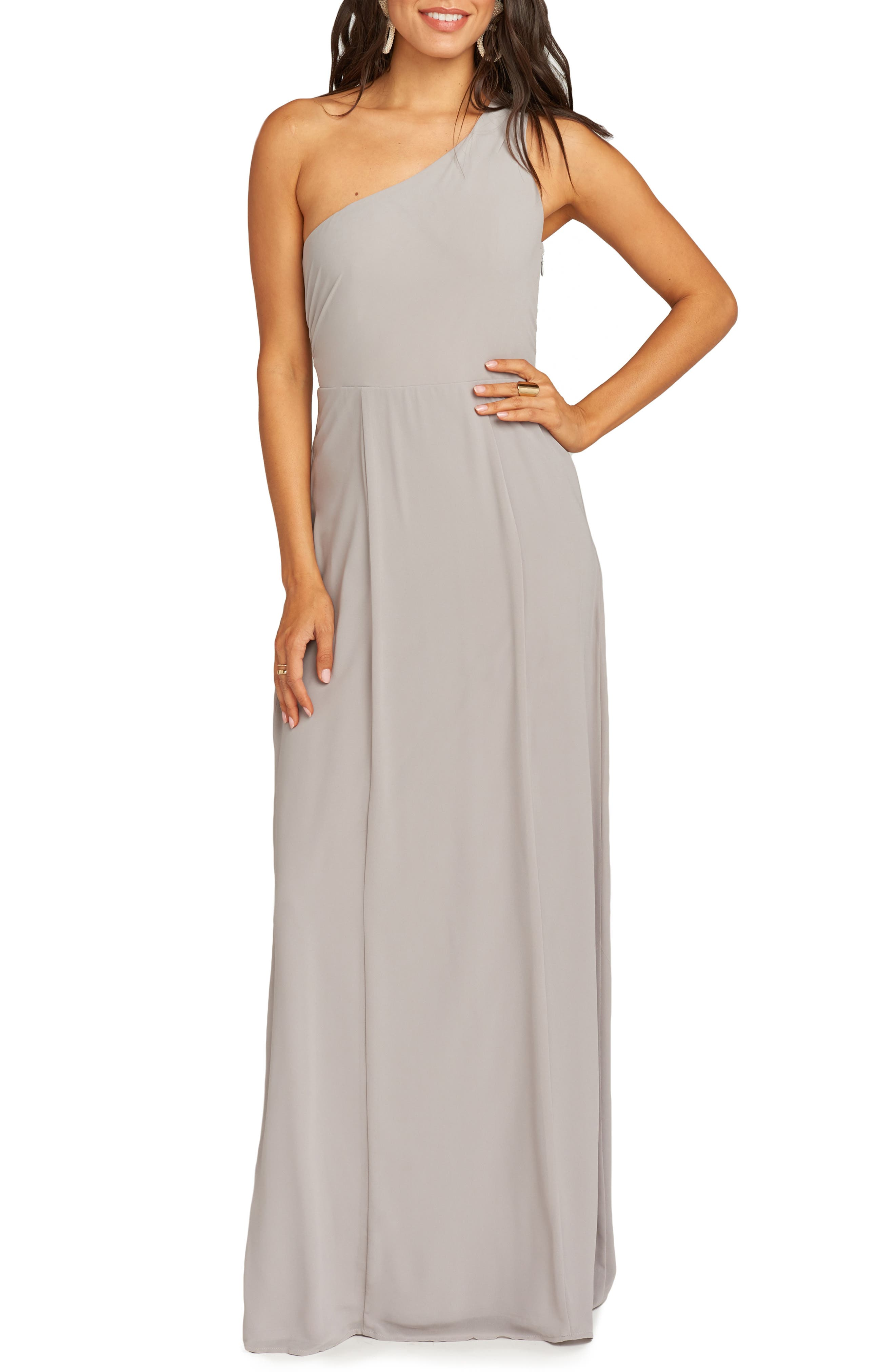 SHOW ME YOUR MUMU Eliza One-Shoulder Gown in Dove Grey