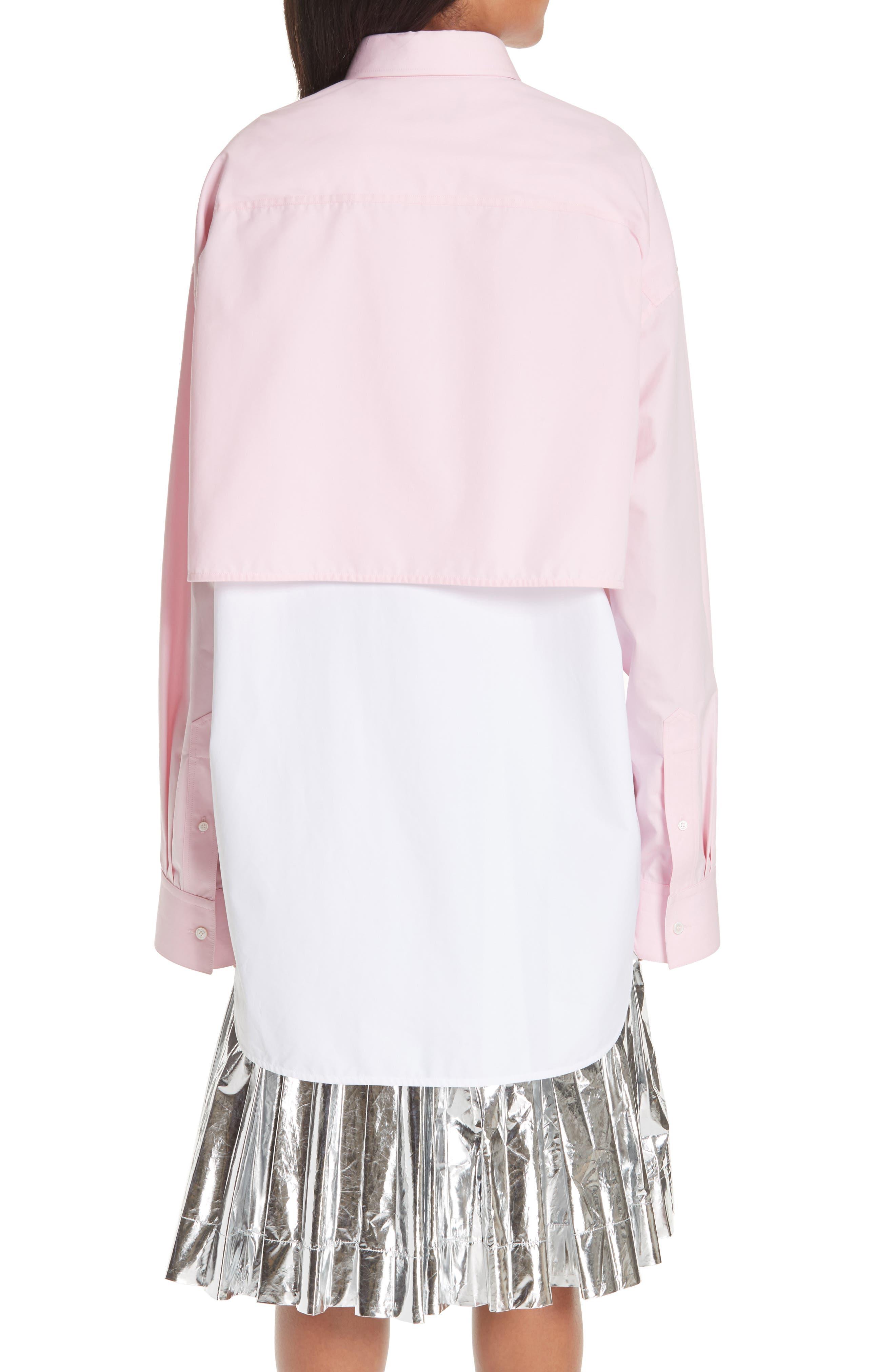 Layered Cotton Poplin Shirt,                             Alternate thumbnail 3, color,                             ROSE OPTIC WHITE