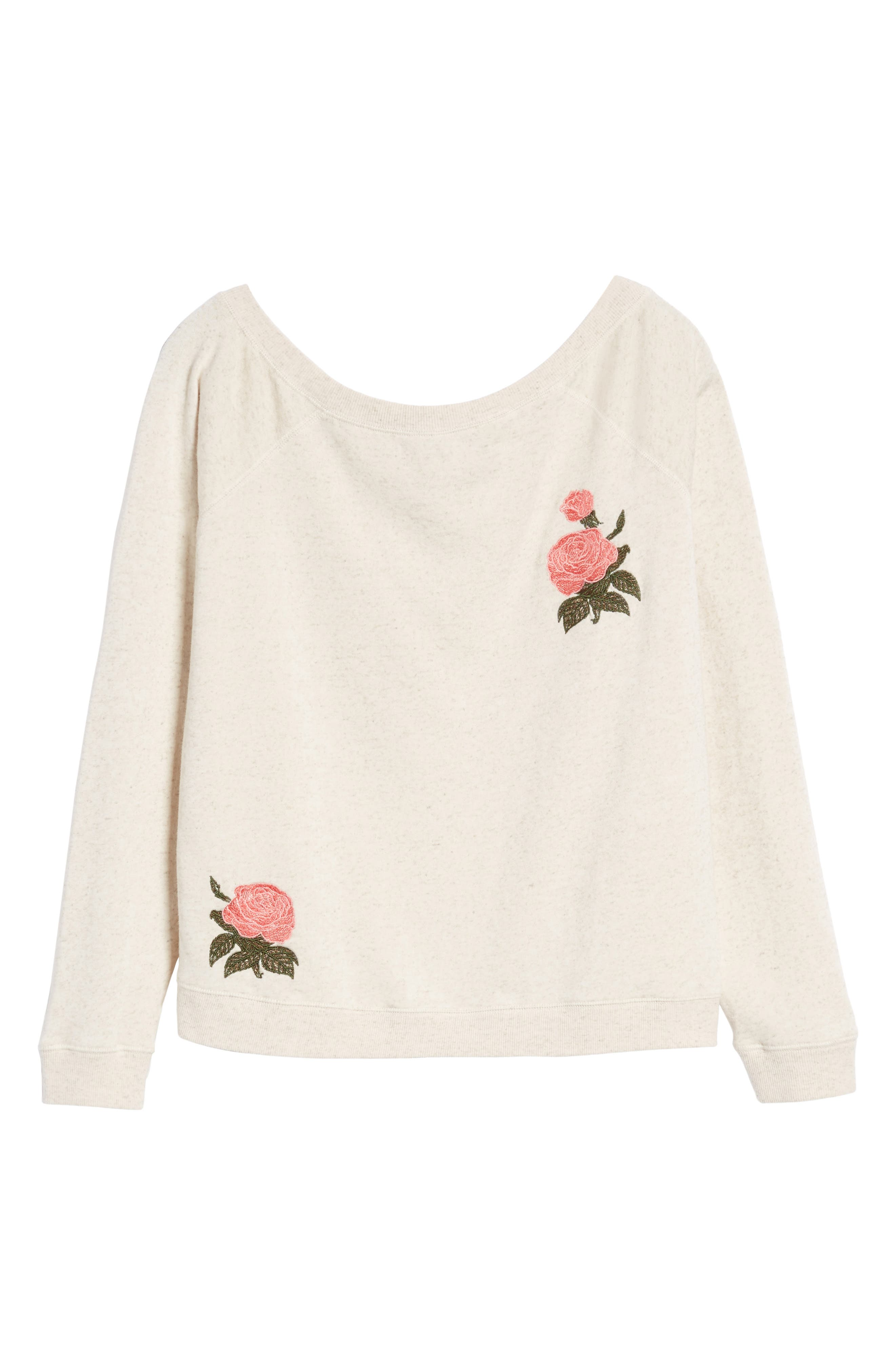 Embroidered Rose Sweatshirt,                             Alternate thumbnail 6, color,                             901