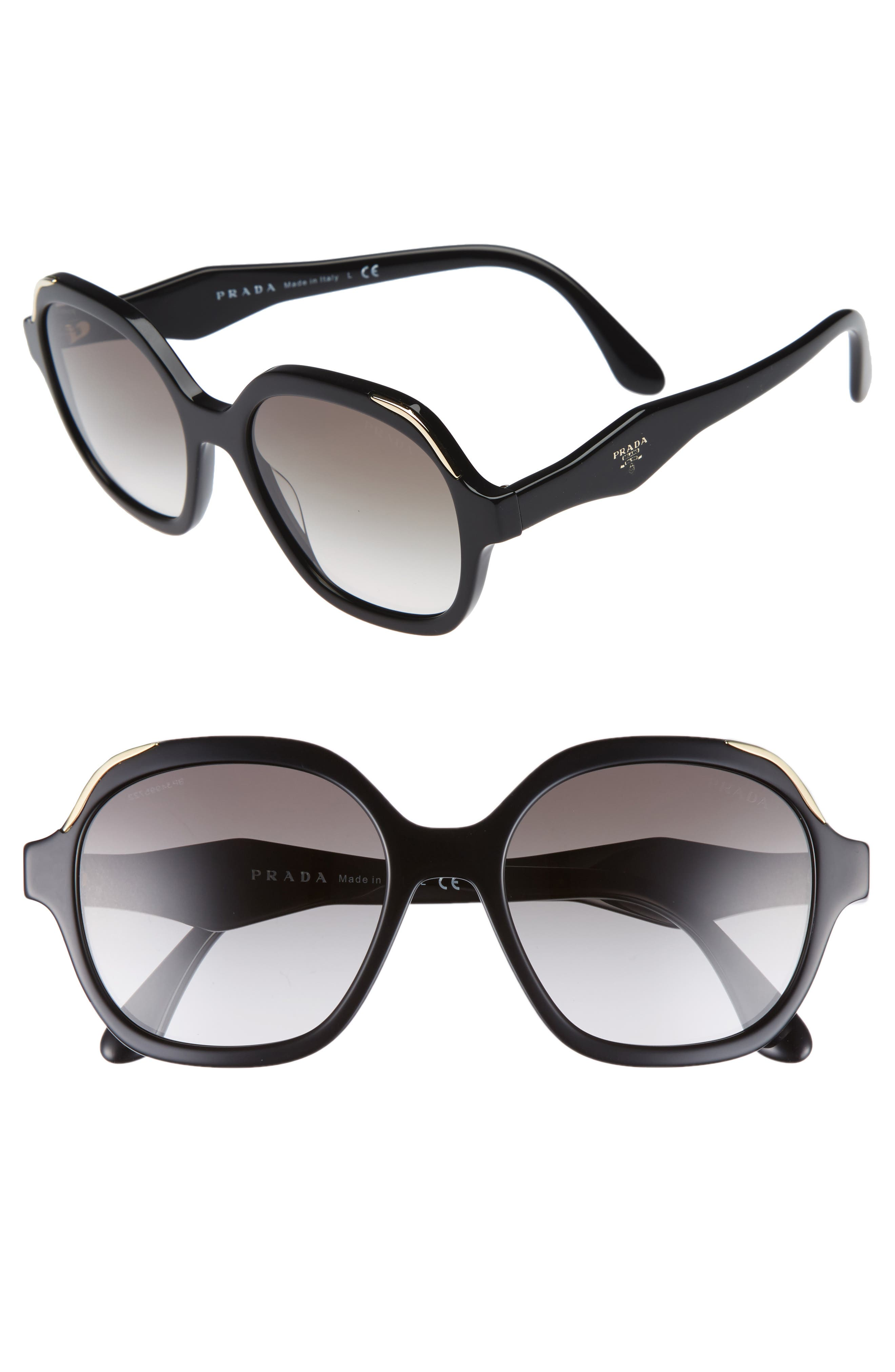 52mm Geometric Gradient Sunglasses,                             Main thumbnail 1, color,