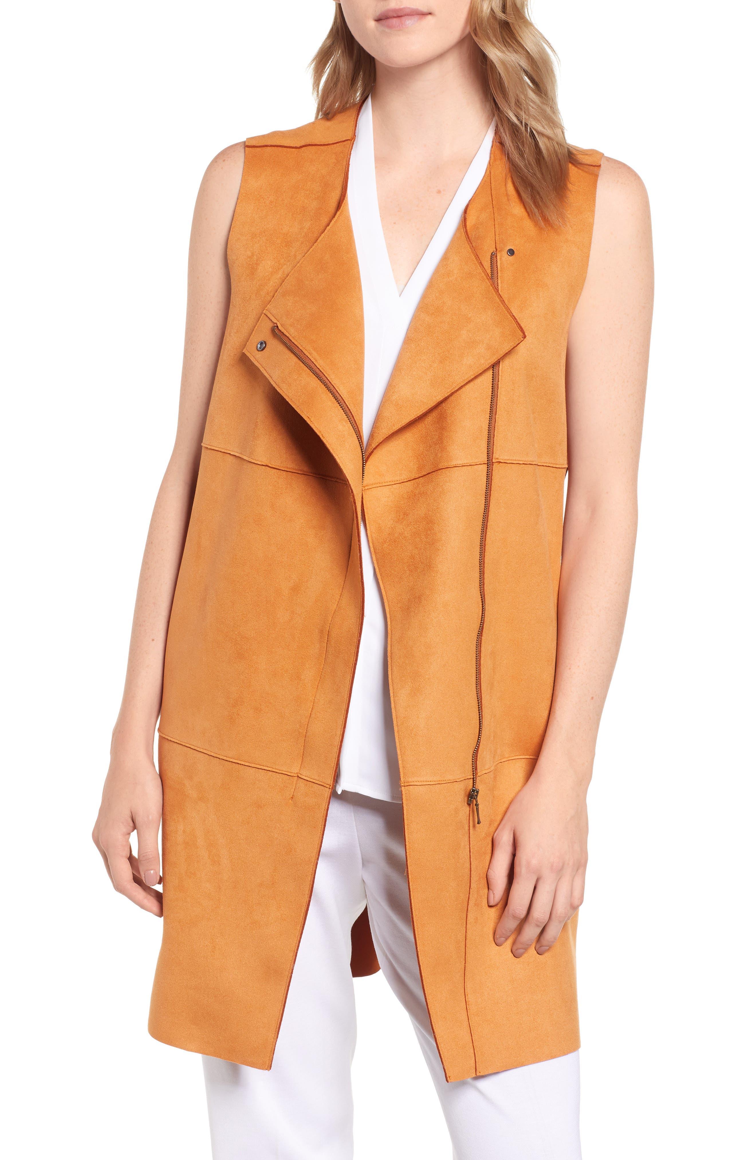 Asymmetrical Faux Suede Vest,                         Main,                         color, COGNAC
