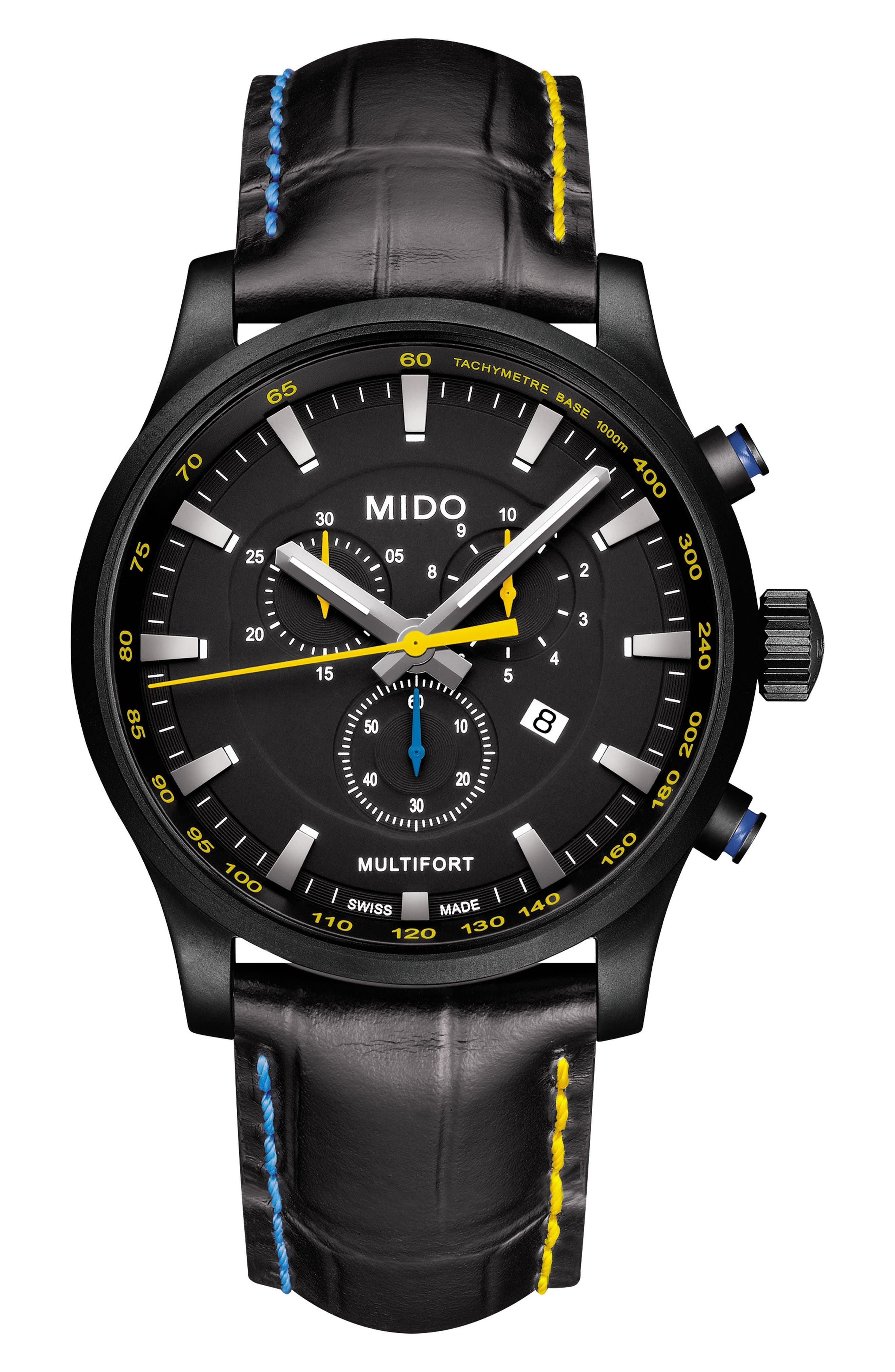 MIDO,                             Multifort Chronograph Leather Strap Watch, 42mm,                             Main thumbnail 1, color,                             BLACK/ SILVER