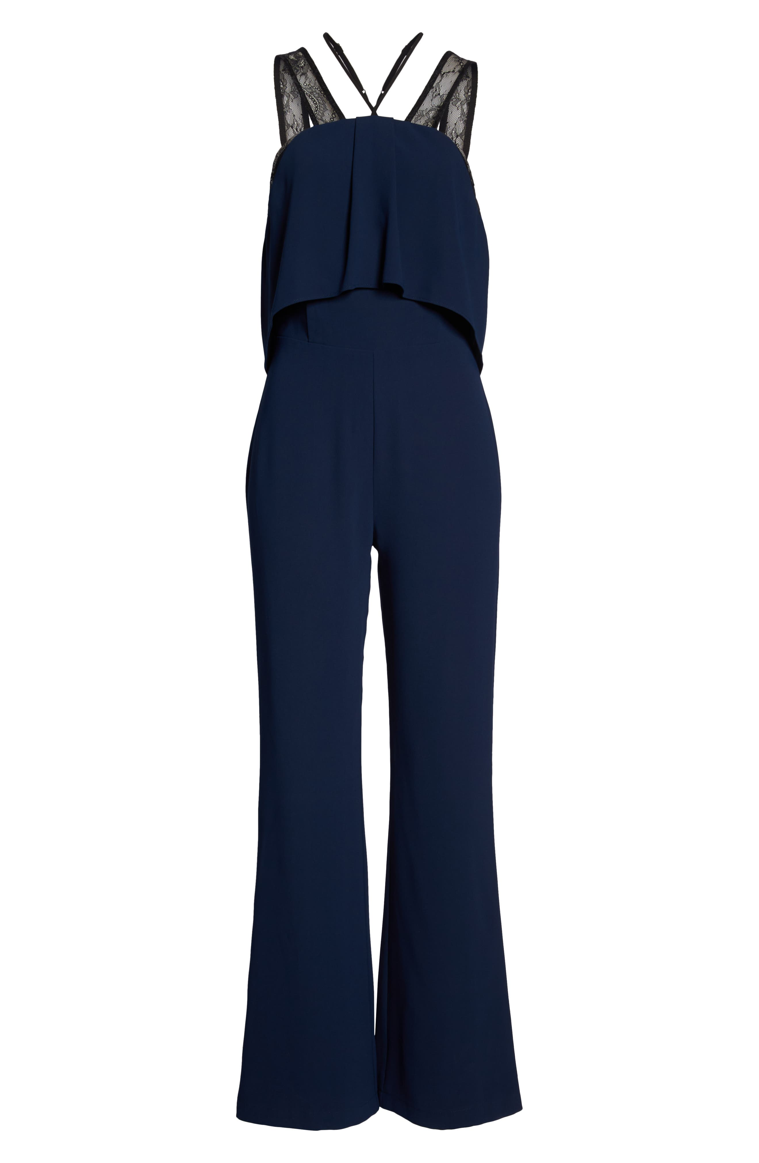 Lace Strap Popover Bodice Jumpsuit,                             Alternate thumbnail 7, color,                             NAVY