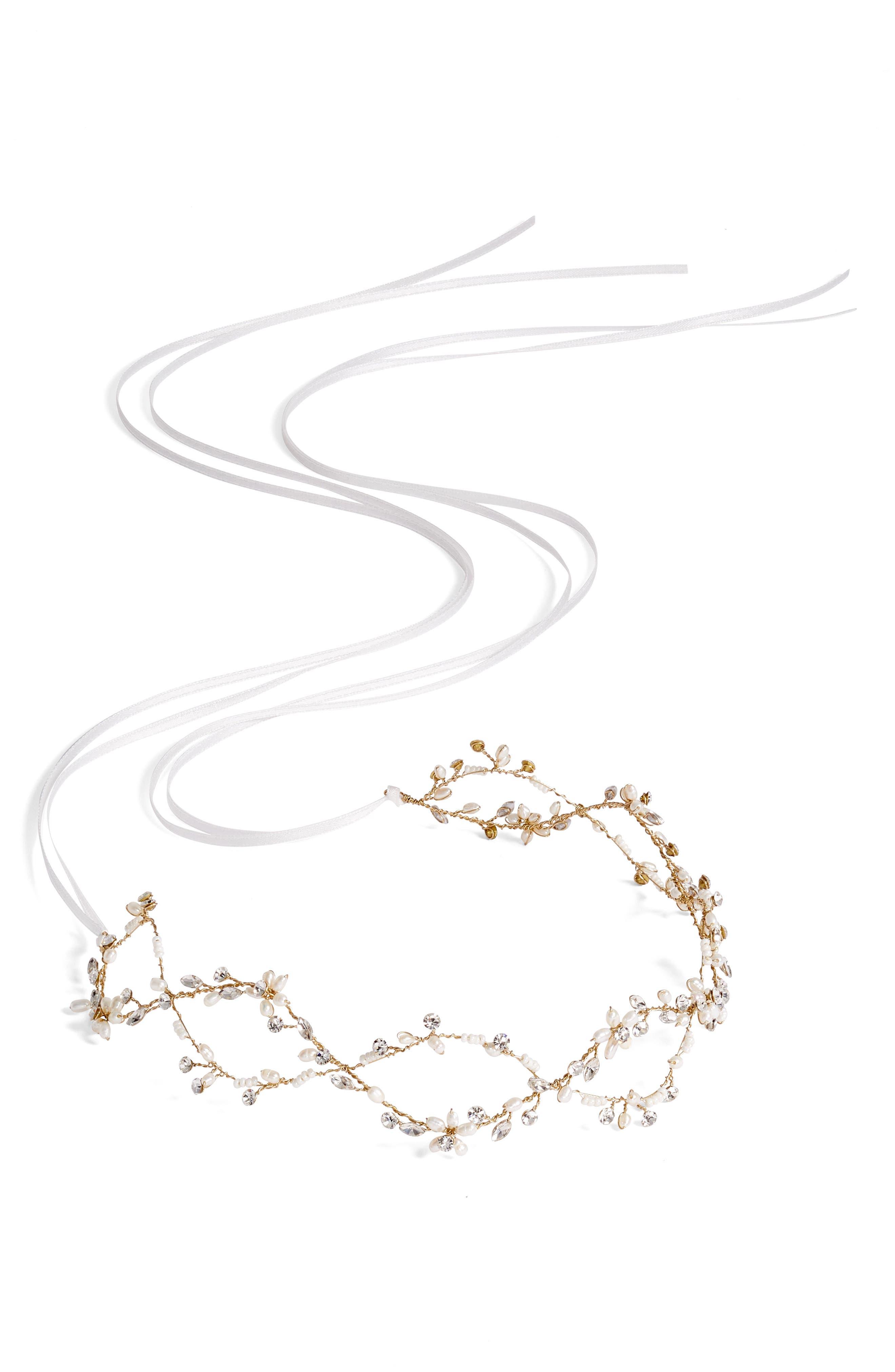 BRIDES & HAIRPINS Octavia Pearl & Jeweled Halo & Sash, Main, color, GOLD