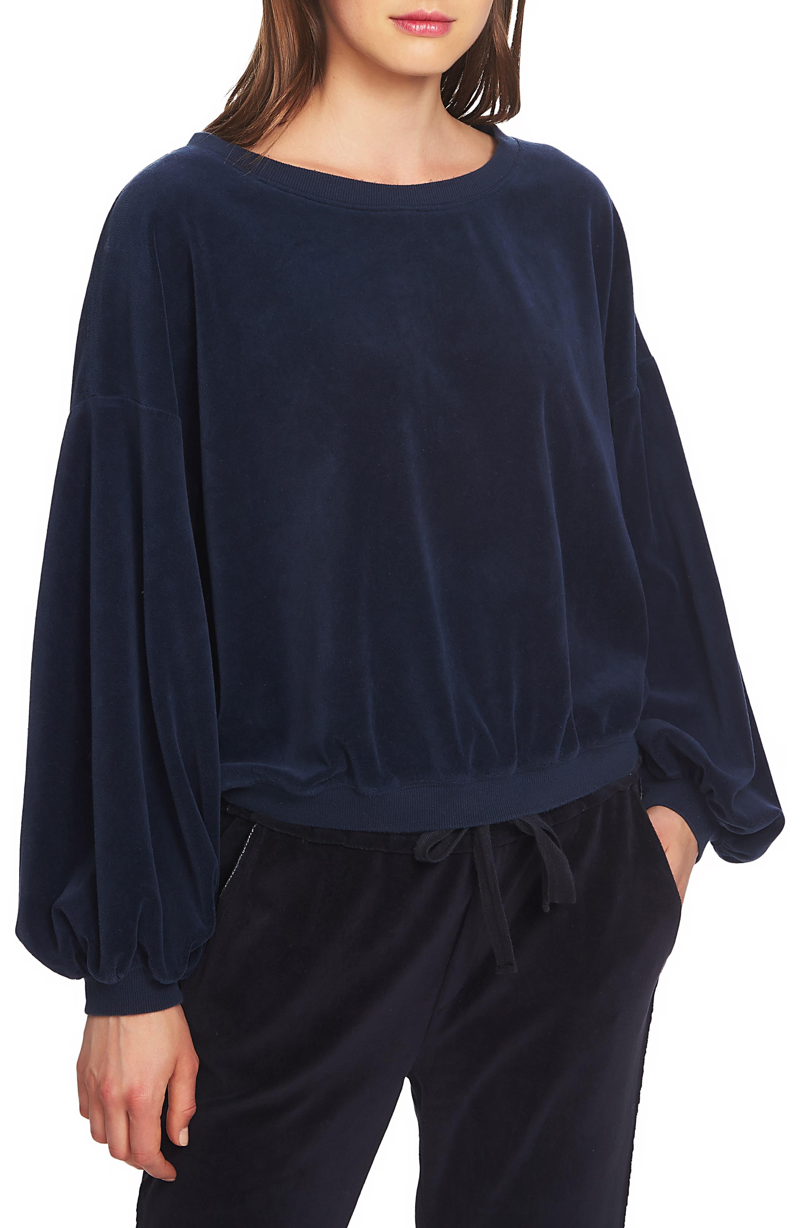 Balloon-Sleeve Velvet Sweatshirt in Blue Night