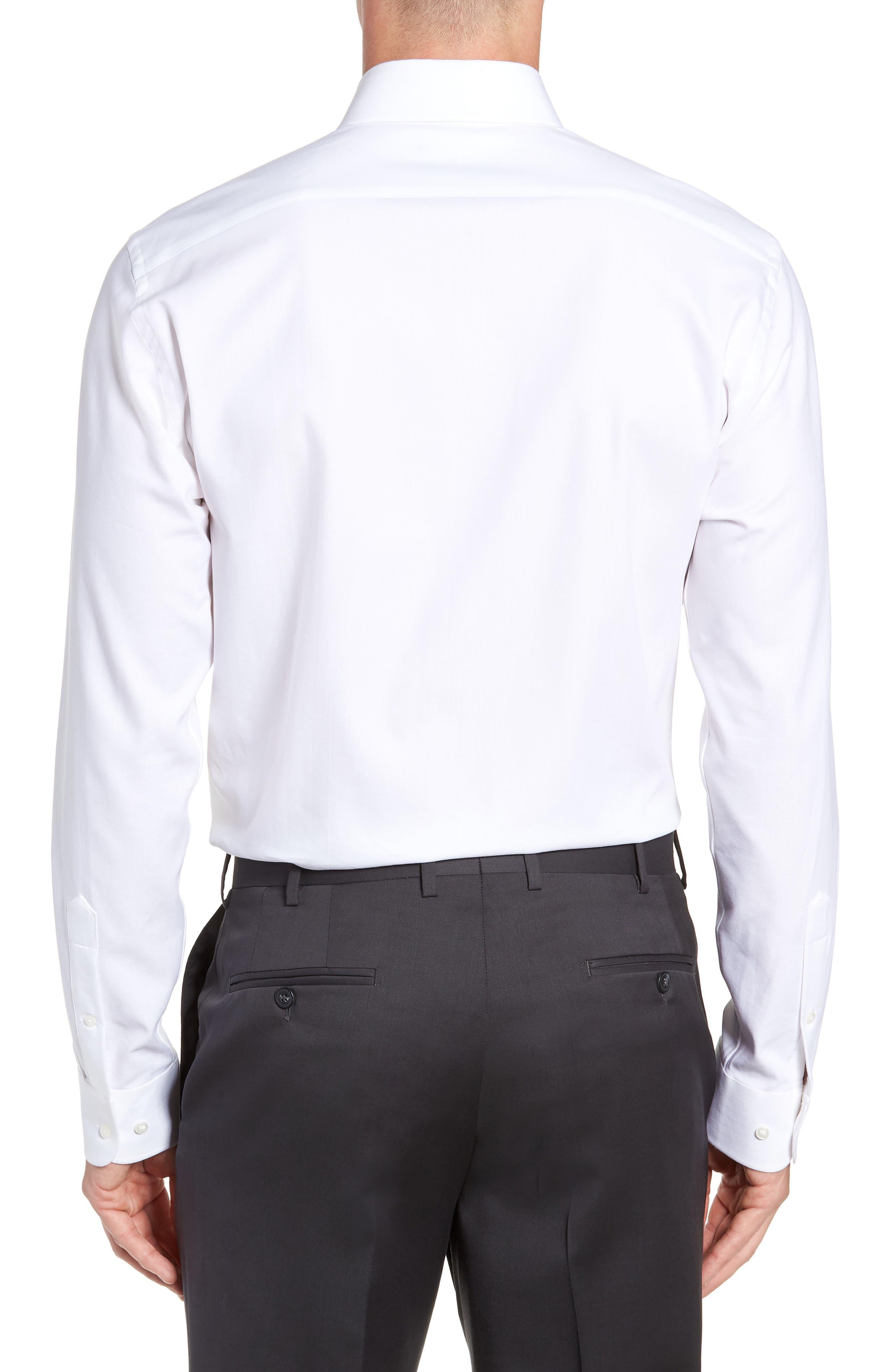 Tech-Smart Trim Fit Stretch Herringbone Dress Shirt,                             Alternate thumbnail 3, color,                             WHITE