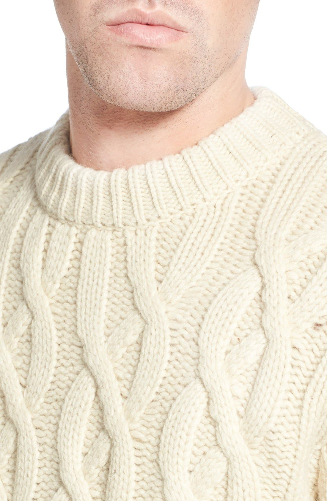 Regular Fit Cable Knit Crewneck Wool Blend Sweater,                             Alternate thumbnail 8, color,