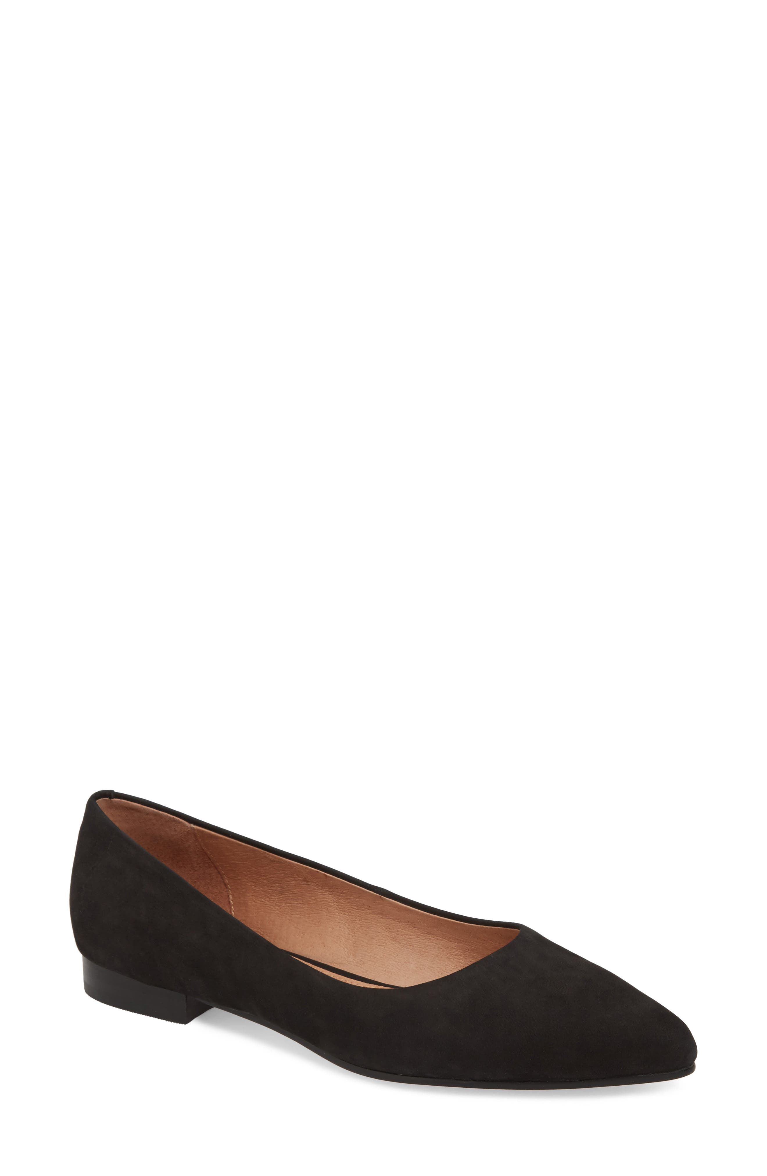 Luna Pointy Toe Flat,                             Main thumbnail 1, color,                             BLACK NUBUCK
