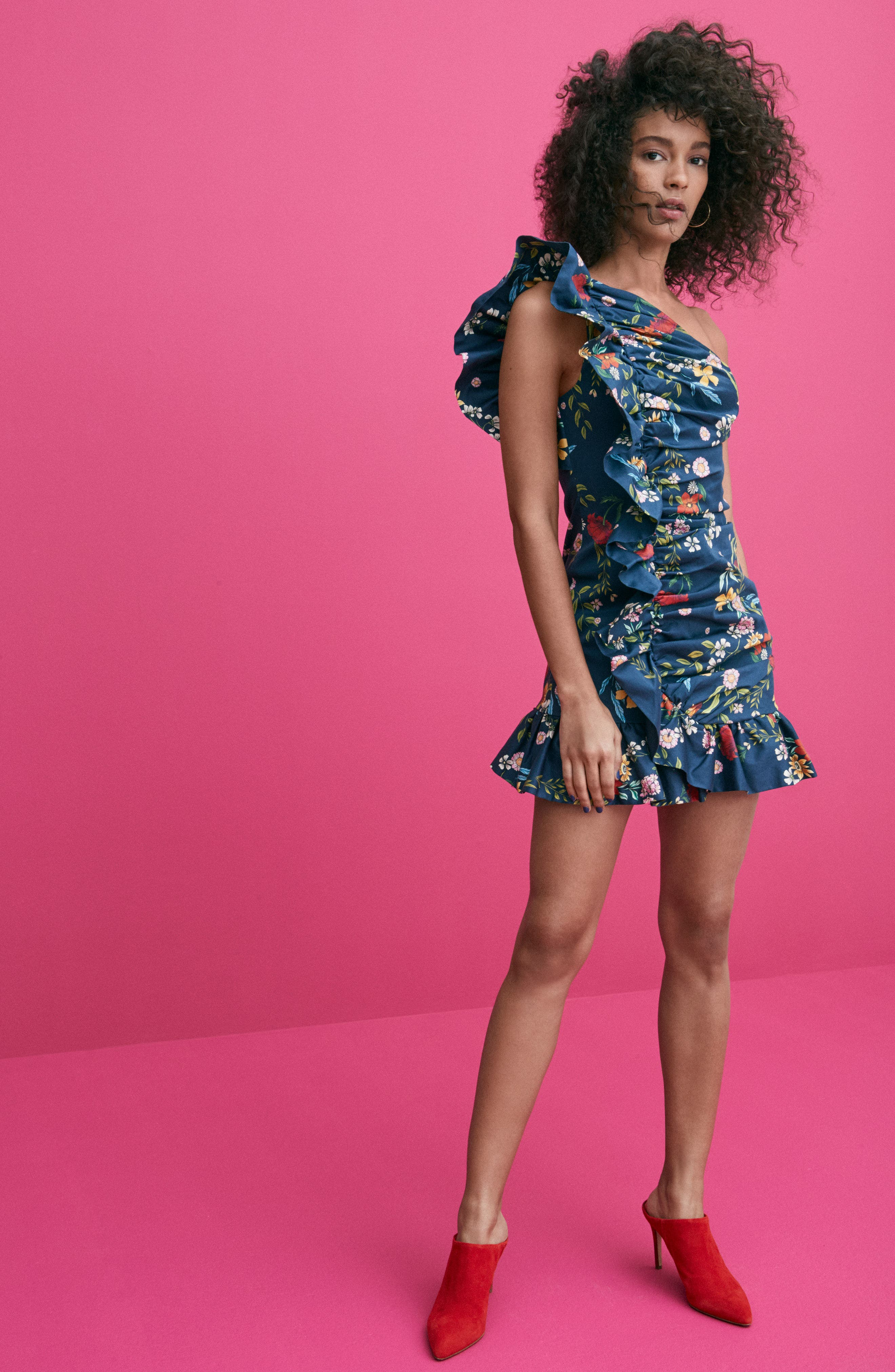 C/MEO No Matter One-Shoulder Ruffle Minidress,                             Alternate thumbnail 9, color,                             NAVY FLORAL