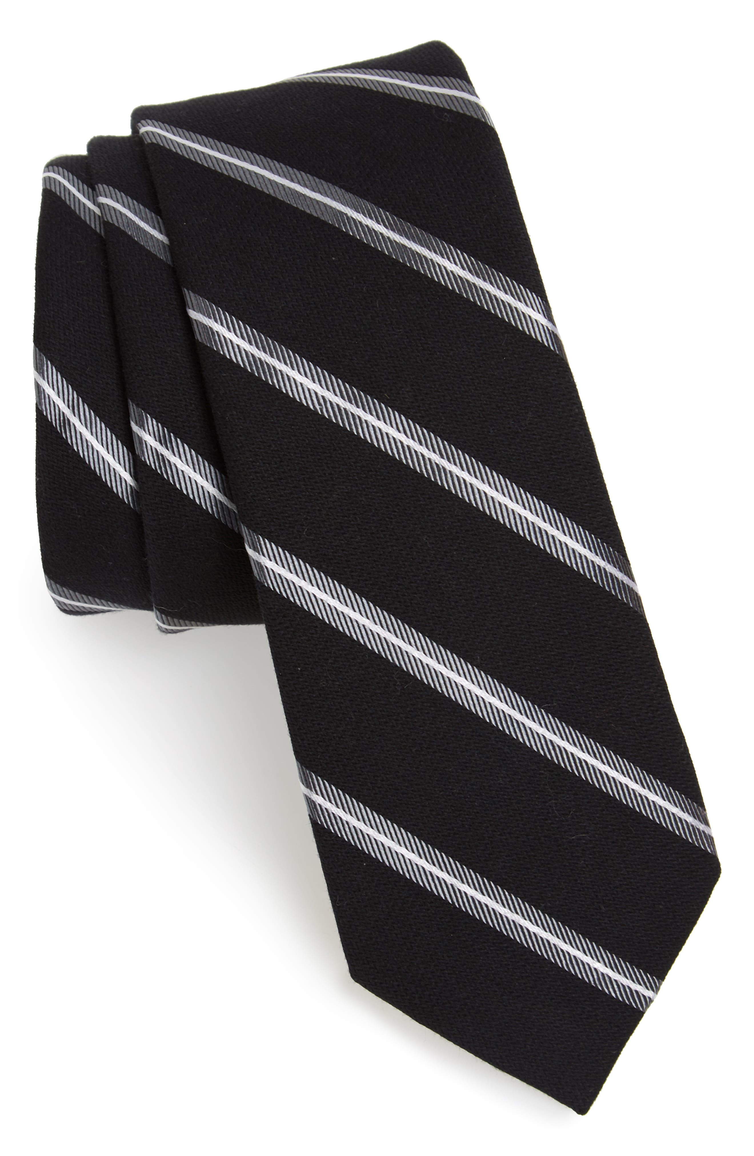 Edinger Stripe Silk & Cotton Tie,                         Main,                         color, 001