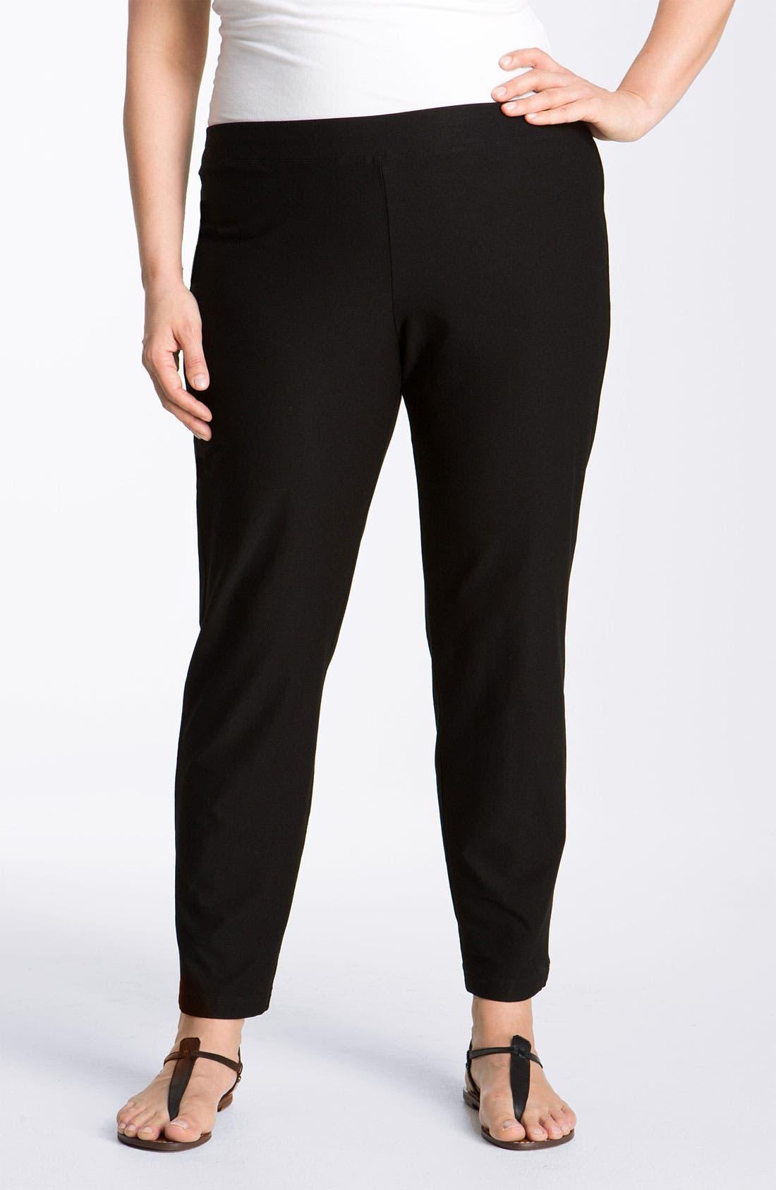 Crepe Ankle Pants,                         Main,                         color, BLACK