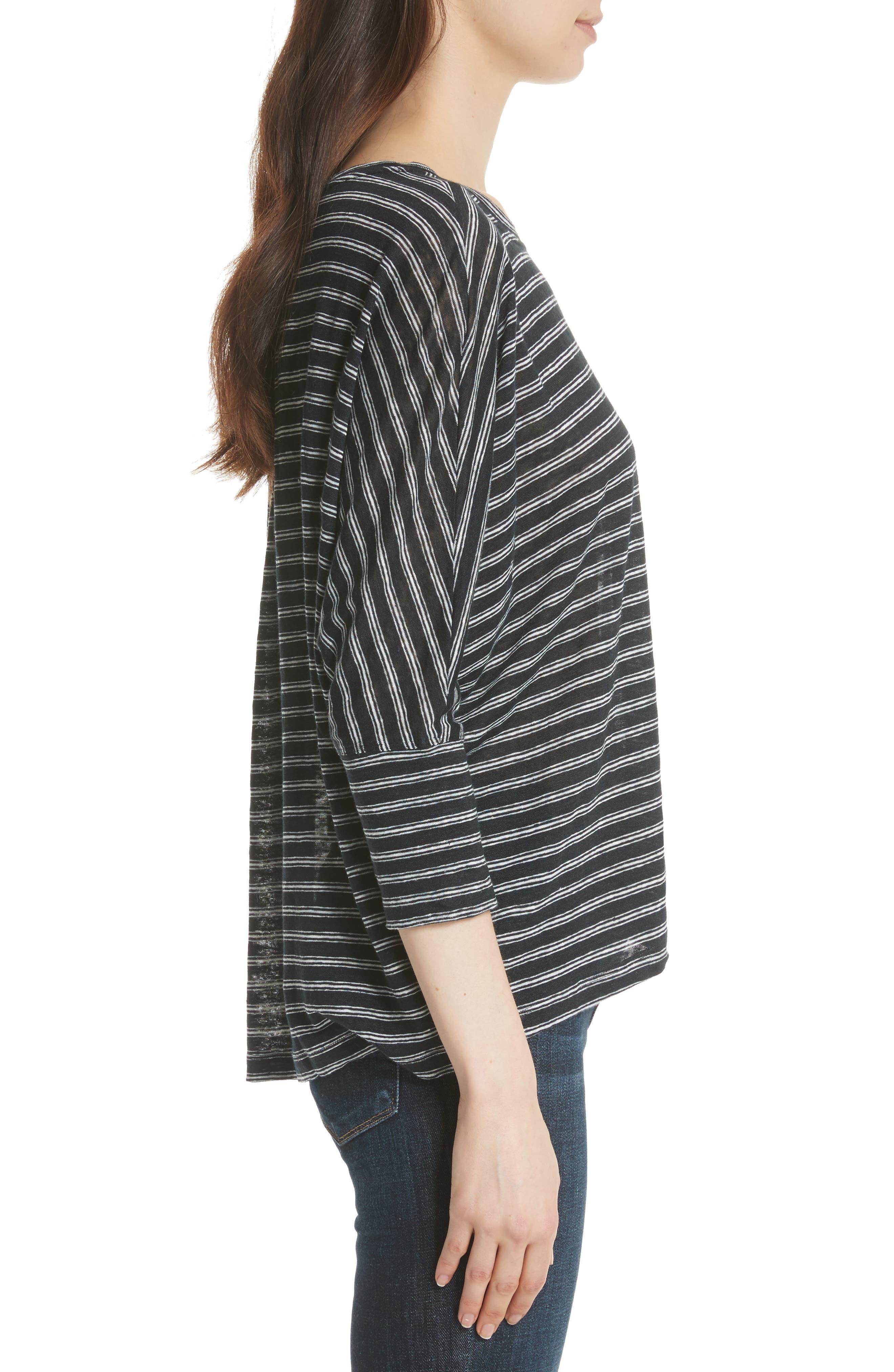 Stripe Linen Knit Top,                             Alternate thumbnail 3, color,                             904