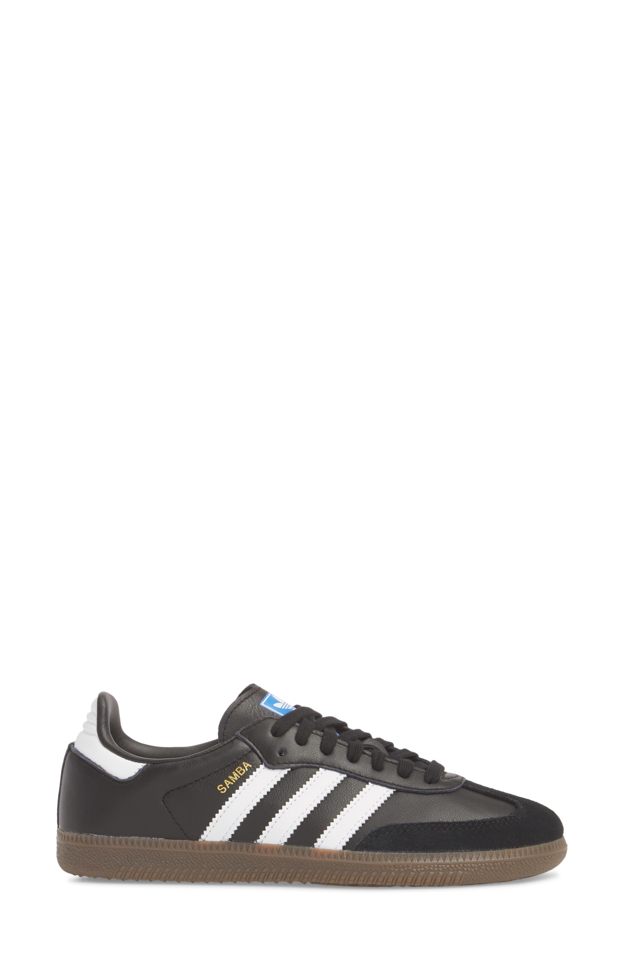 'Samba' Sneaker,                             Alternate thumbnail 3, color,                             BLACK/ WHITE/ GUM5