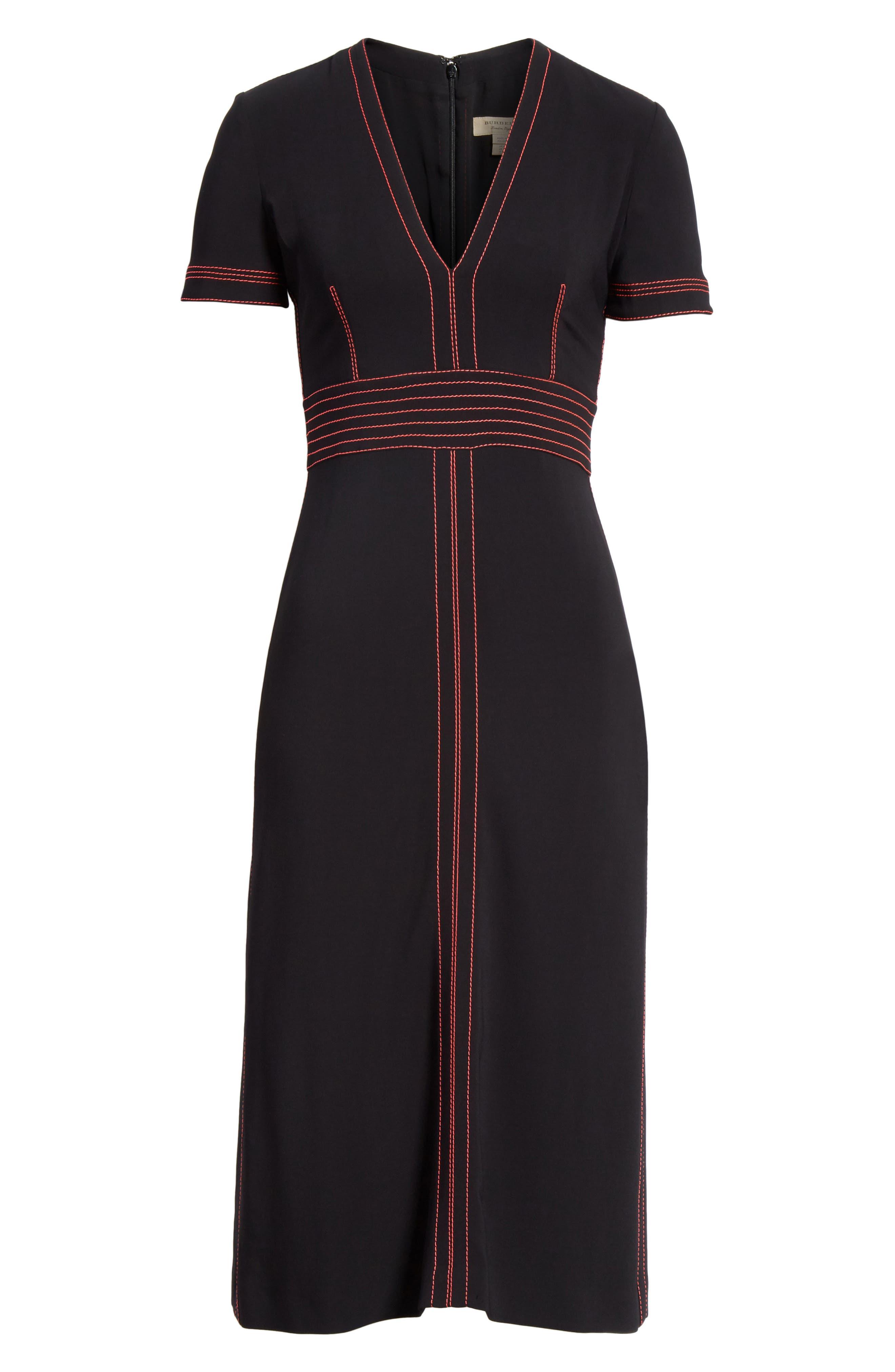 Benni Topstitched Midi Dress,                             Alternate thumbnail 6, color,                             001