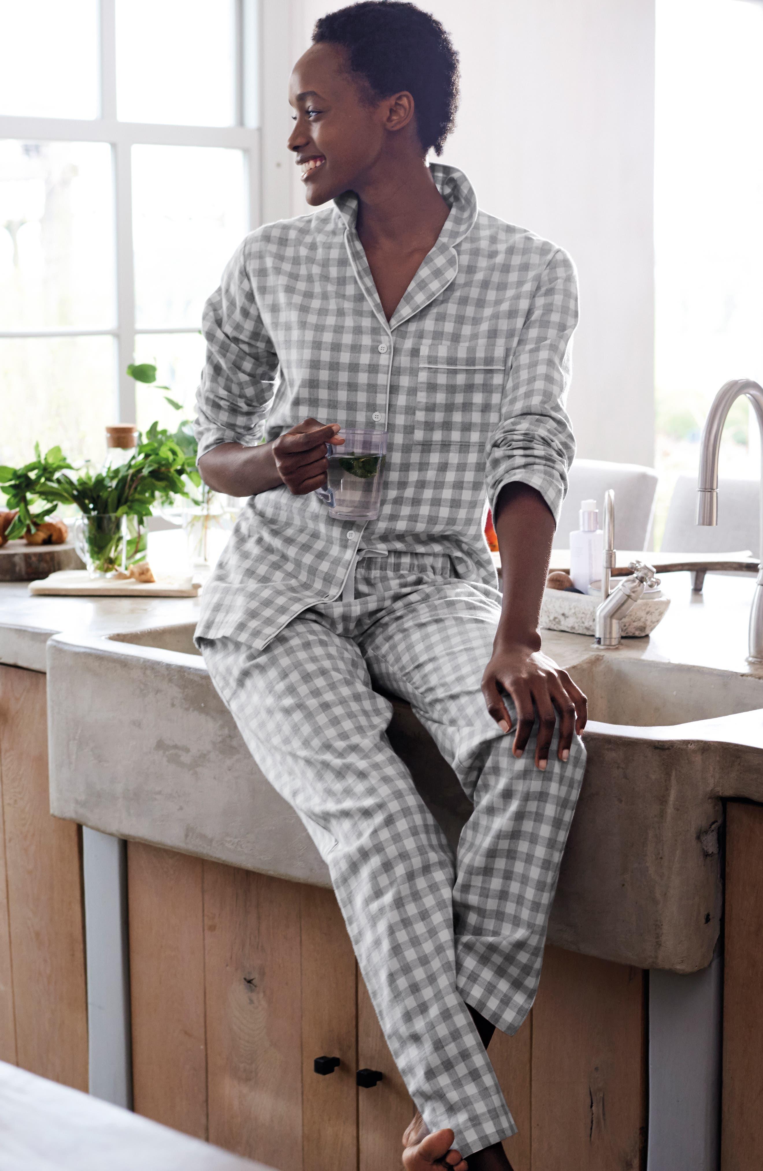 Gingham Check Pajamas,                             Alternate thumbnail 5, color,                             GREY/ WHITE GINGHAM
