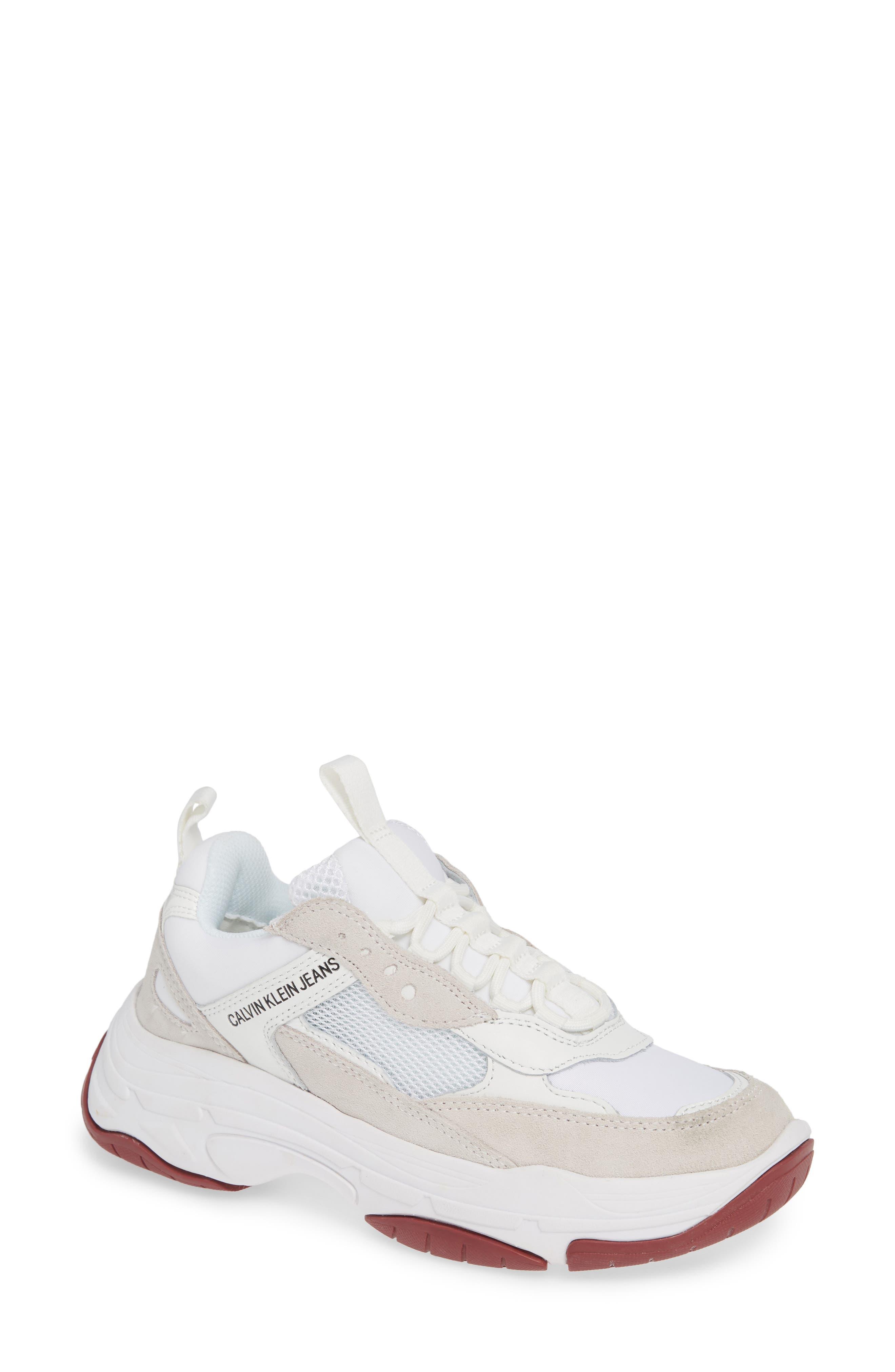 Maya Sneaker,                         Main,                         color, WHITE FABRIC