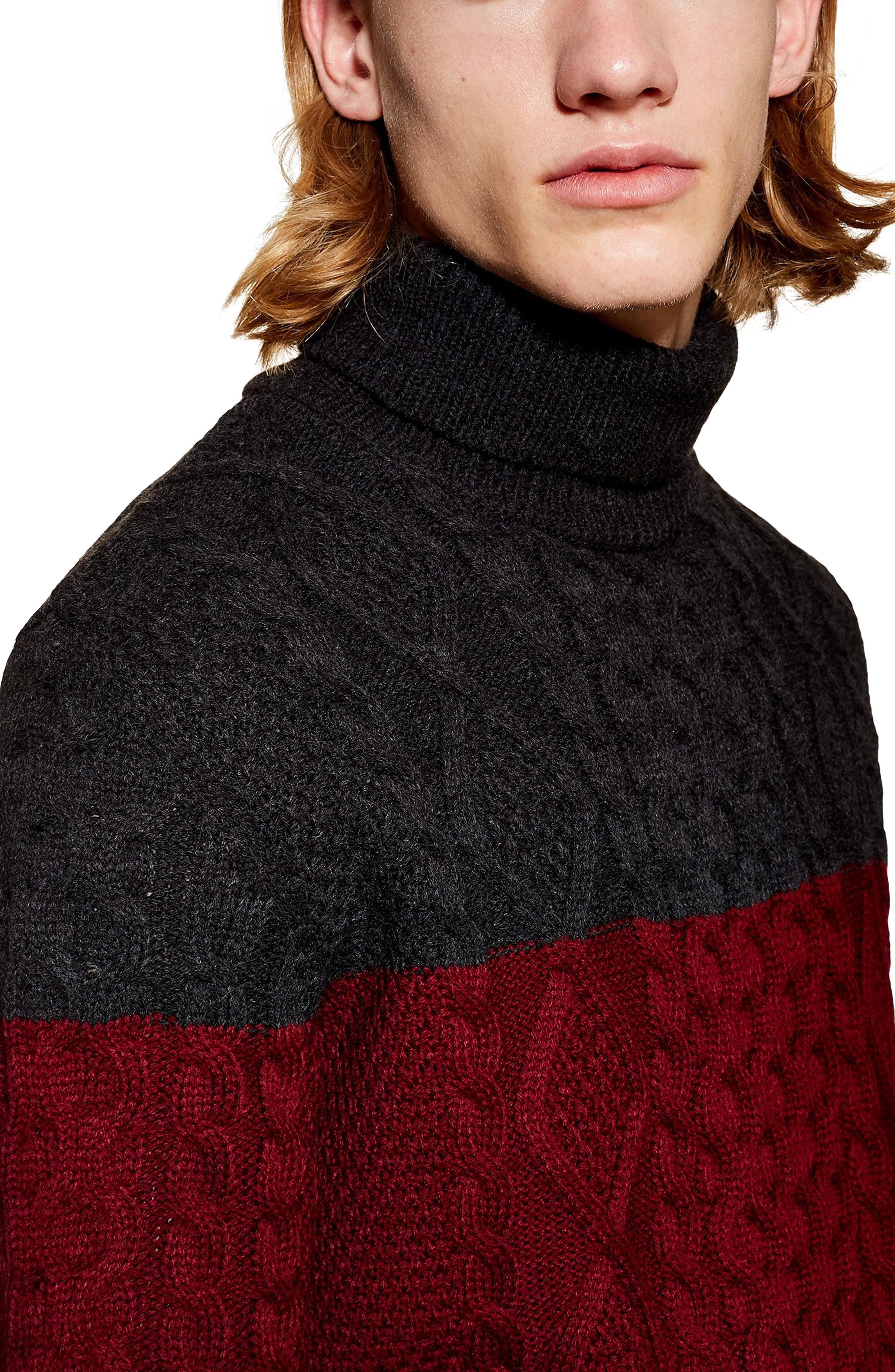 Colorblock Cable Knit Turtleneck Sweater,                             Alternate thumbnail 3, color,                             RED MULTI