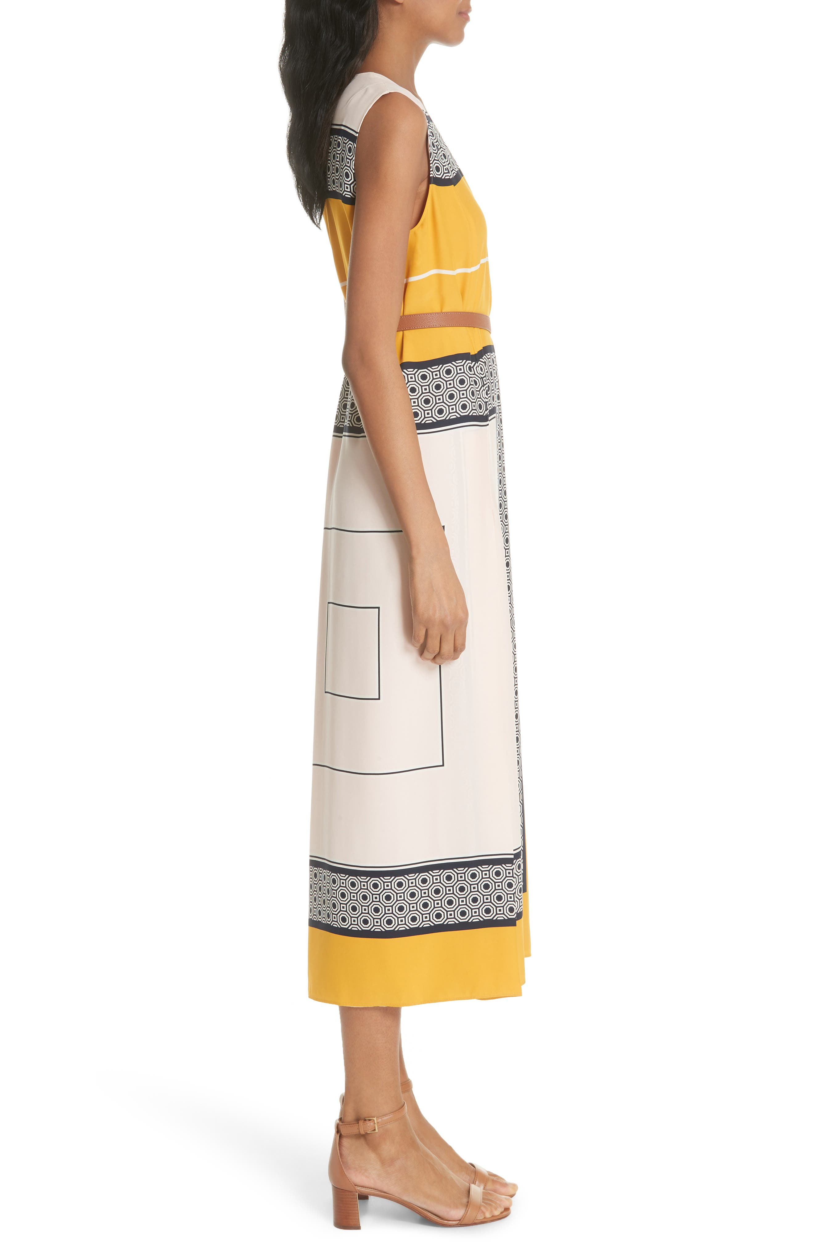 Clarice Belted Silk Wrap Dress,                             Alternate thumbnail 3, color,                             658