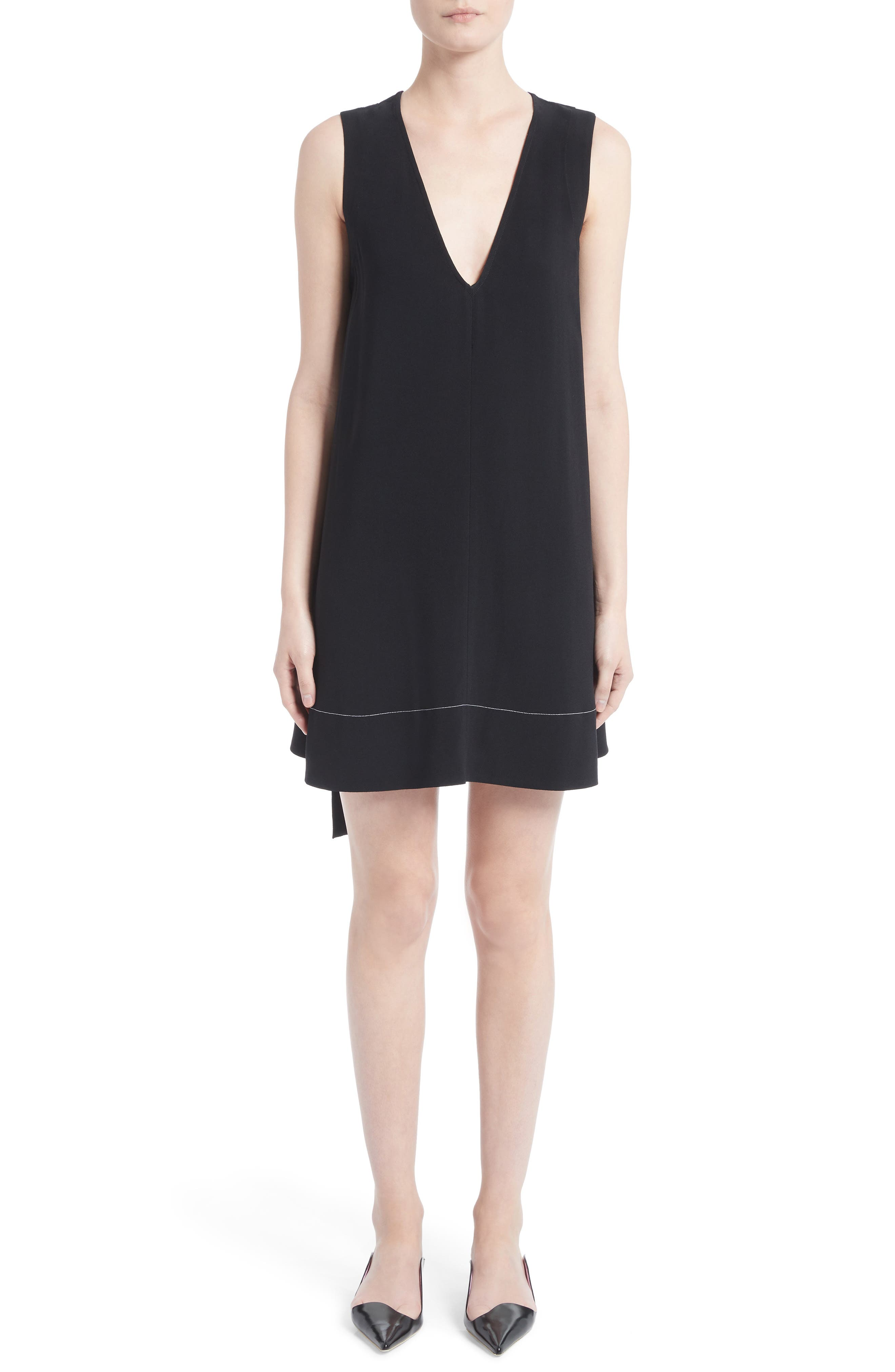 Flared Satin Back Crepe Dress,                             Main thumbnail 1, color,                             001