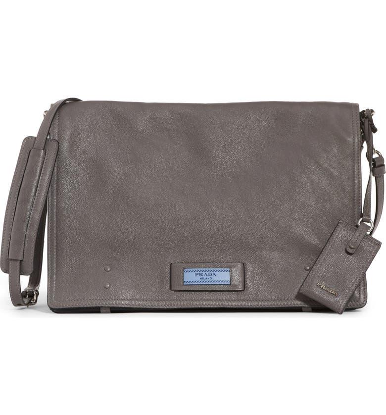 a30b287eae61a0 PRADA Large Etiquette Patch Leather Bag, Main, color, 020