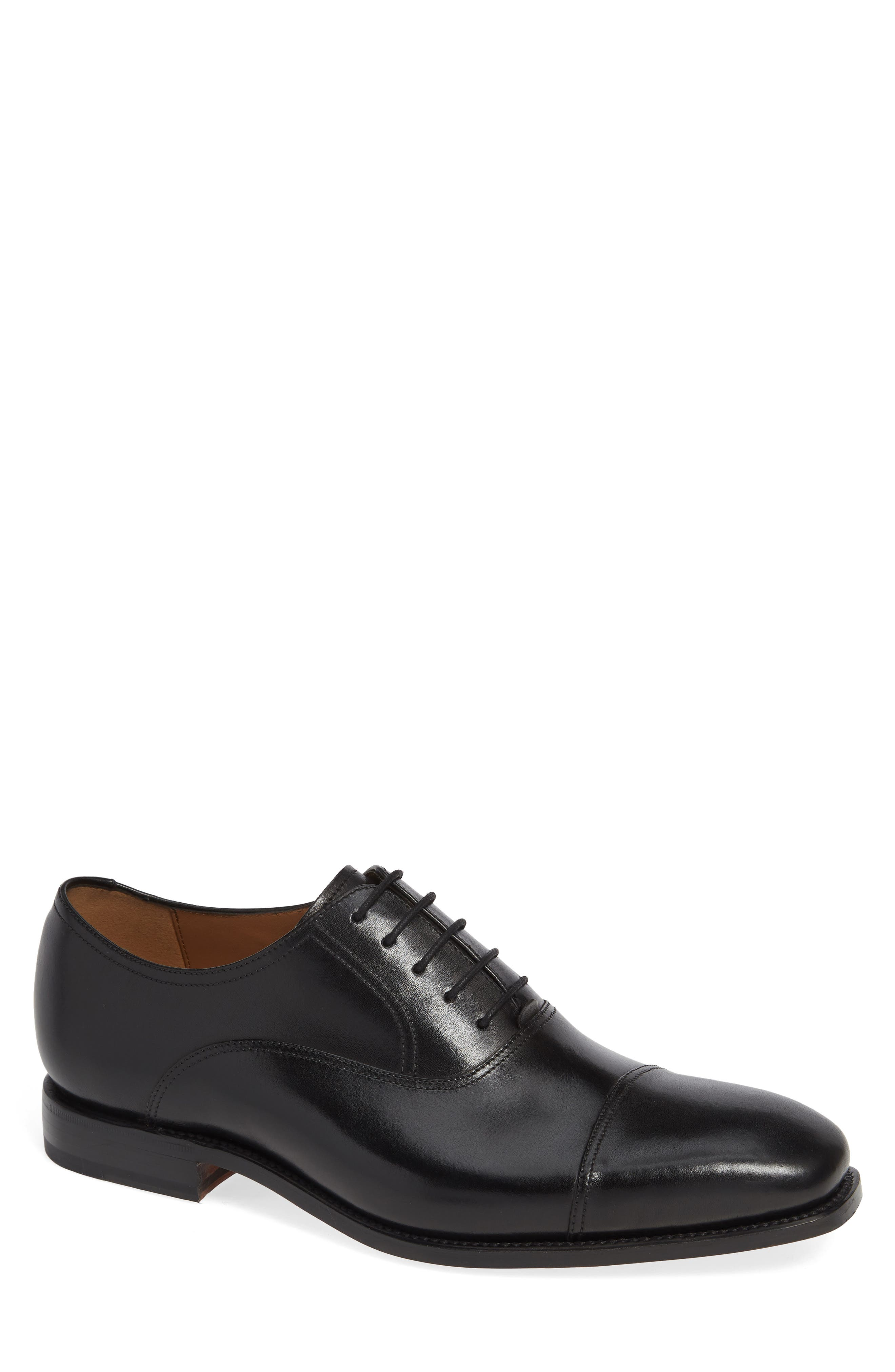 Tiburon Cap Toe Oxford,                             Main thumbnail 1, color,                             BLACK LEATHER