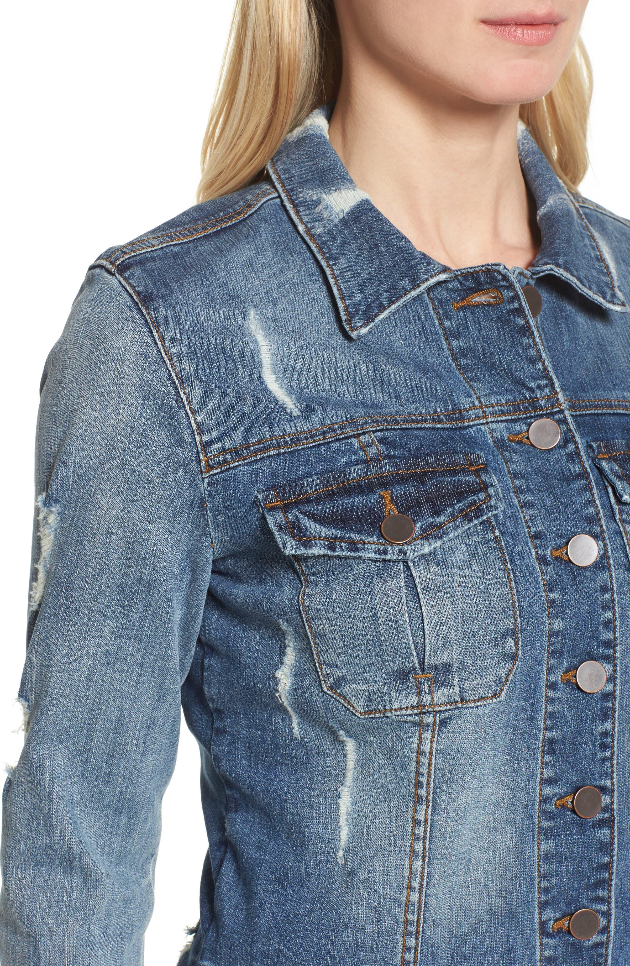 Kara Ripped Denim Jacket,                             Alternate thumbnail 4, color,                             401