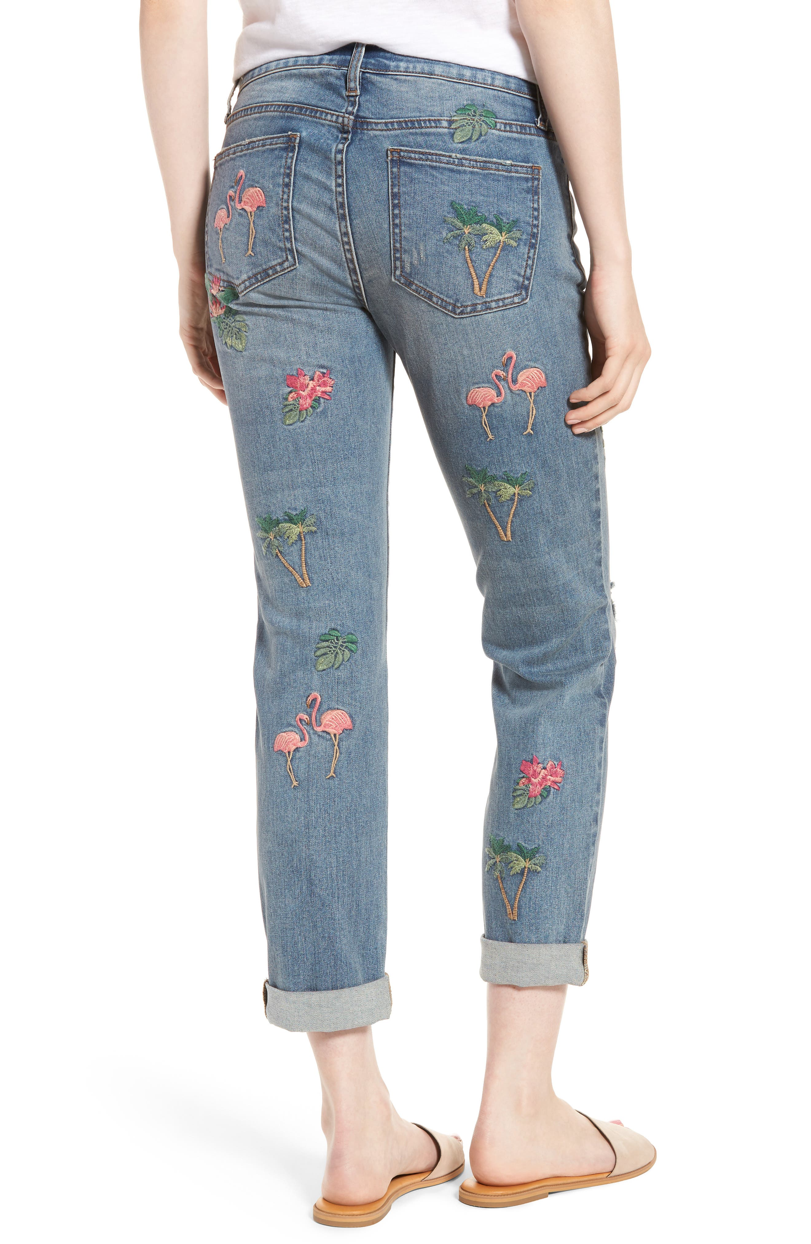 Flamingo Embroidery Jeans,                             Alternate thumbnail 3, color,                             BLUE W/ EMBROIDER