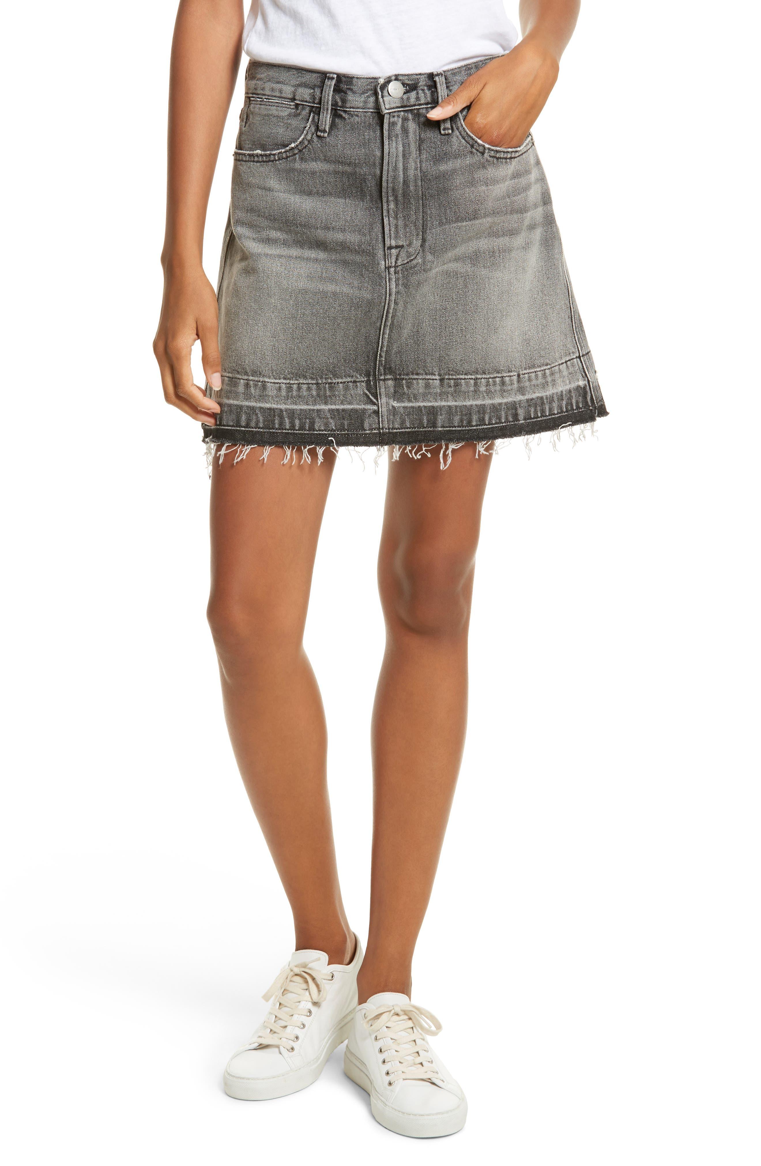 Frayed Hem Denim Skirt,                         Main,                         color, 030