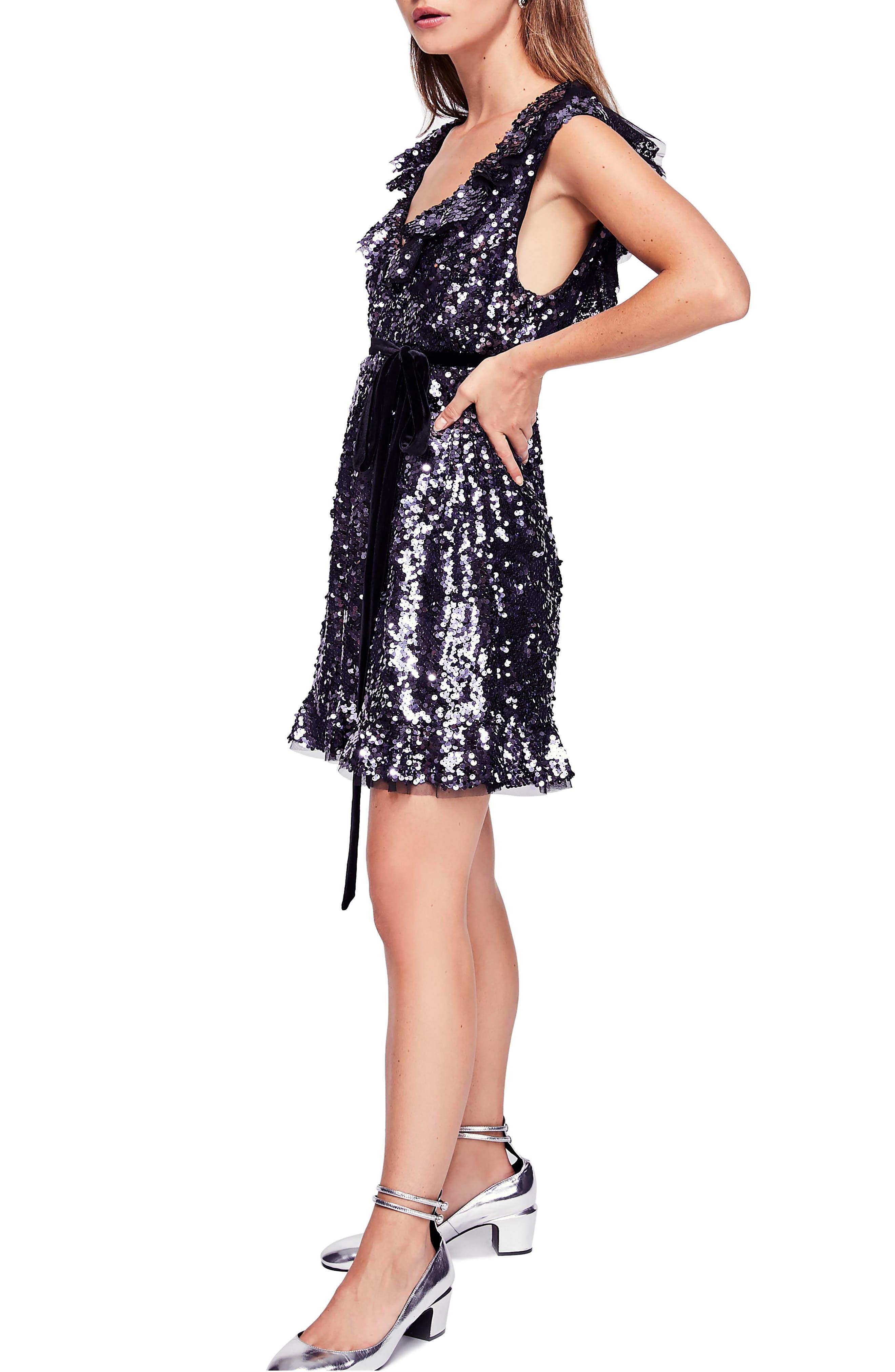 Siren Sequin Dress,                             Alternate thumbnail 3, color,                             BLACK