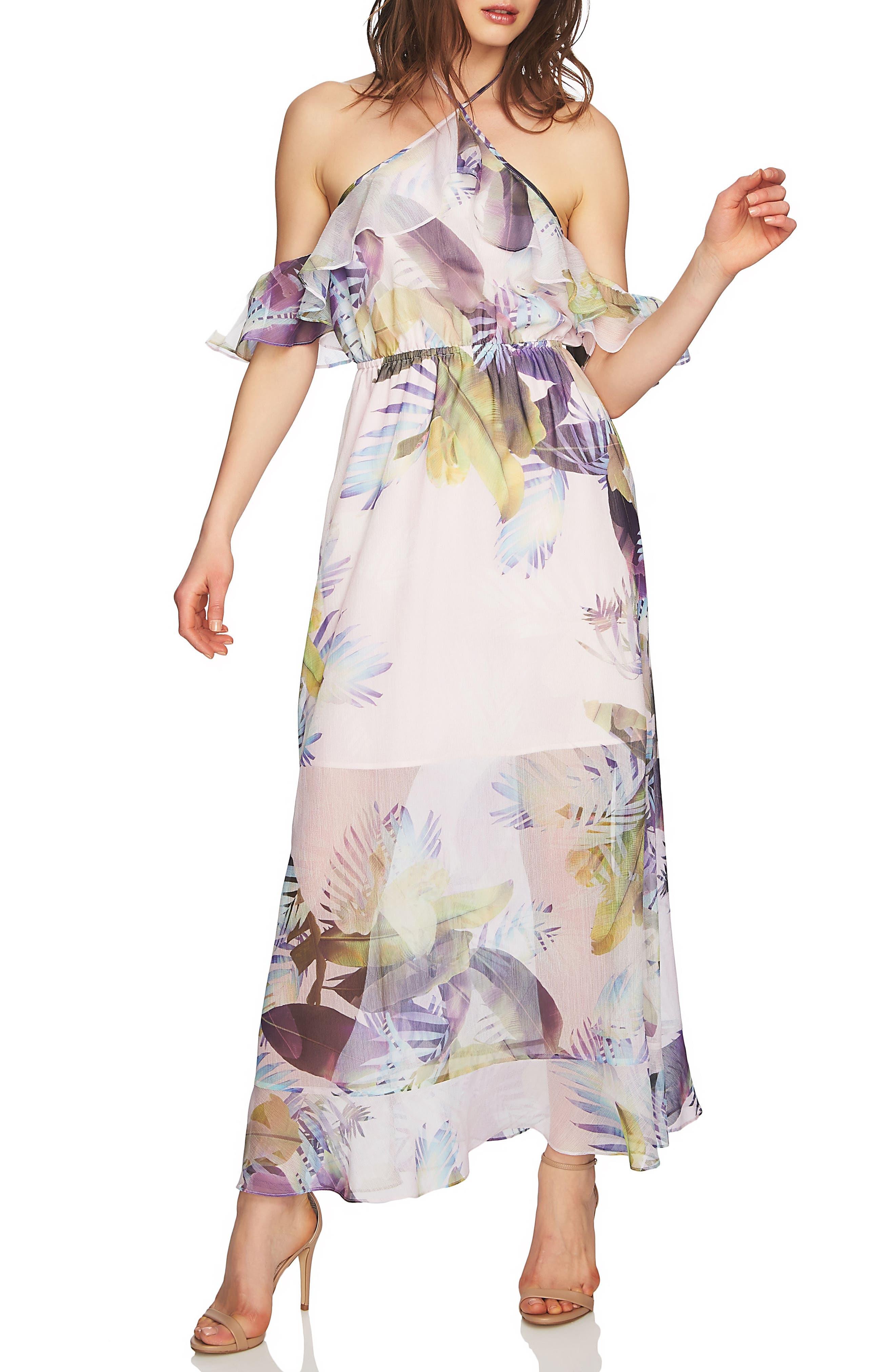 Danielle Tropical Print Cold Shoulder Maxi Dress,                             Main thumbnail 1, color,                             650