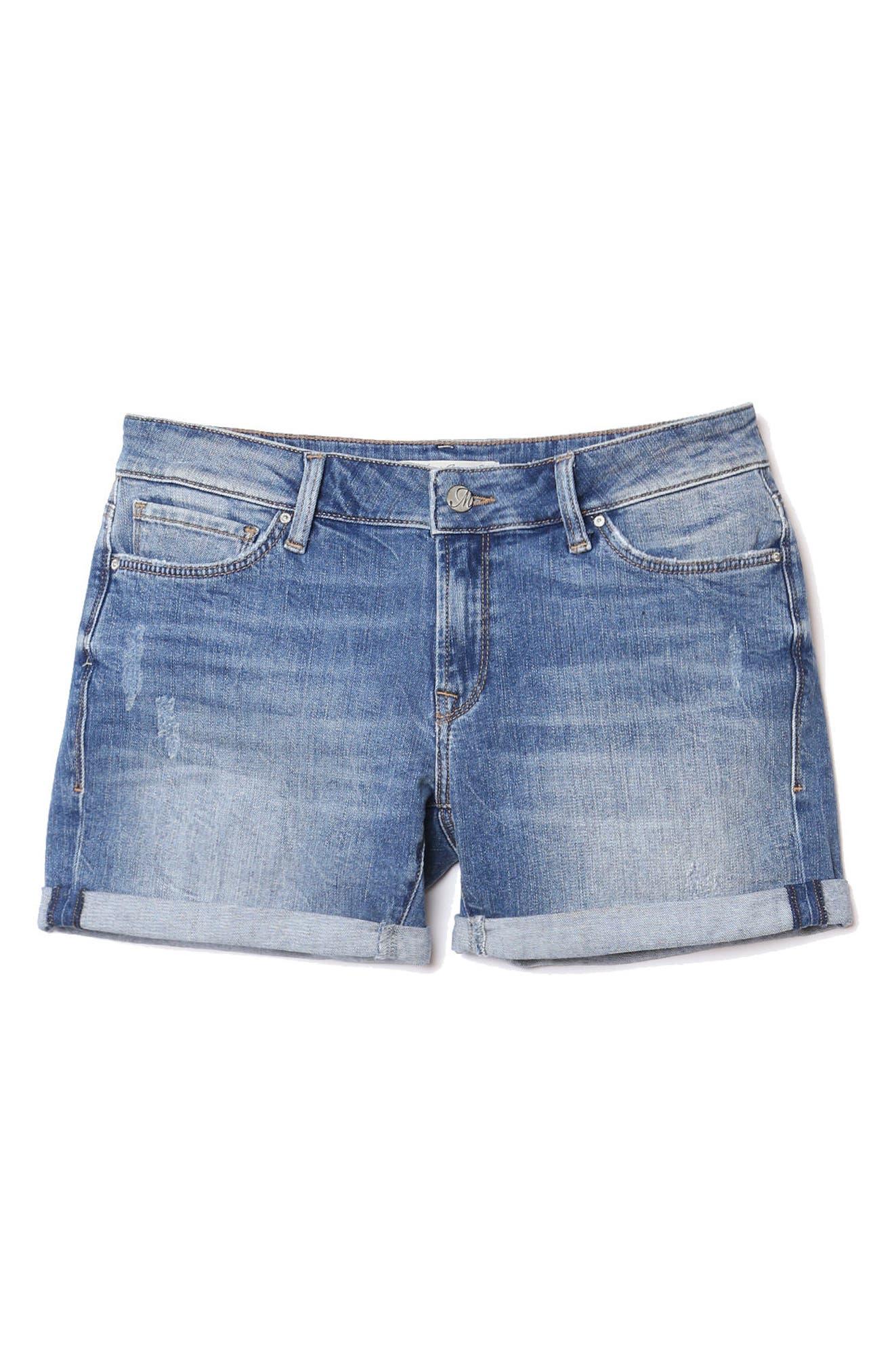 Pixie Denim Boyfriend Shorts,                             Alternate thumbnail 5, color,                             DISTRESSED VINTAGE