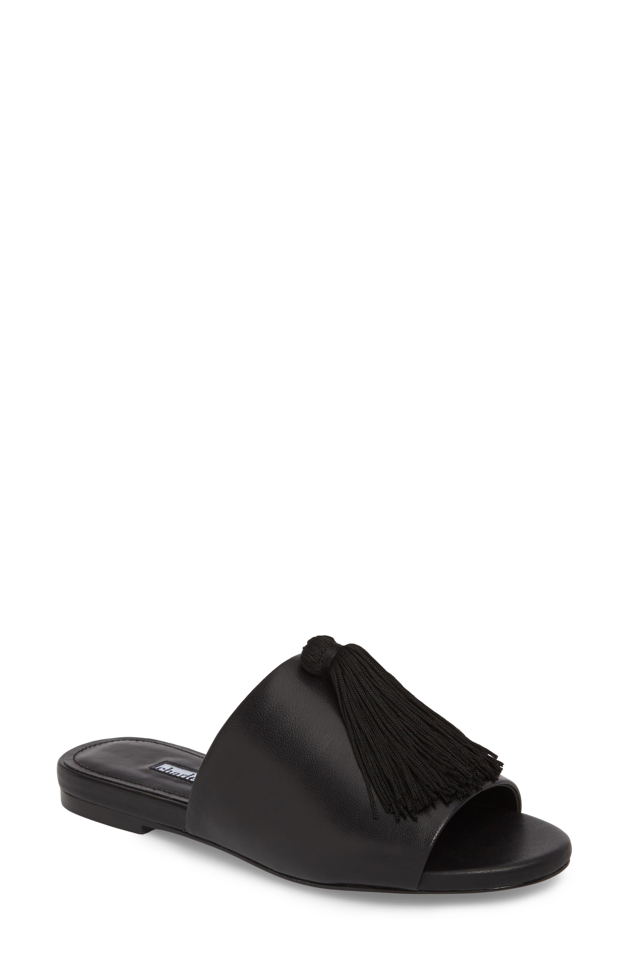 Charles David Sashay Tasseled Slide Sandal, Black