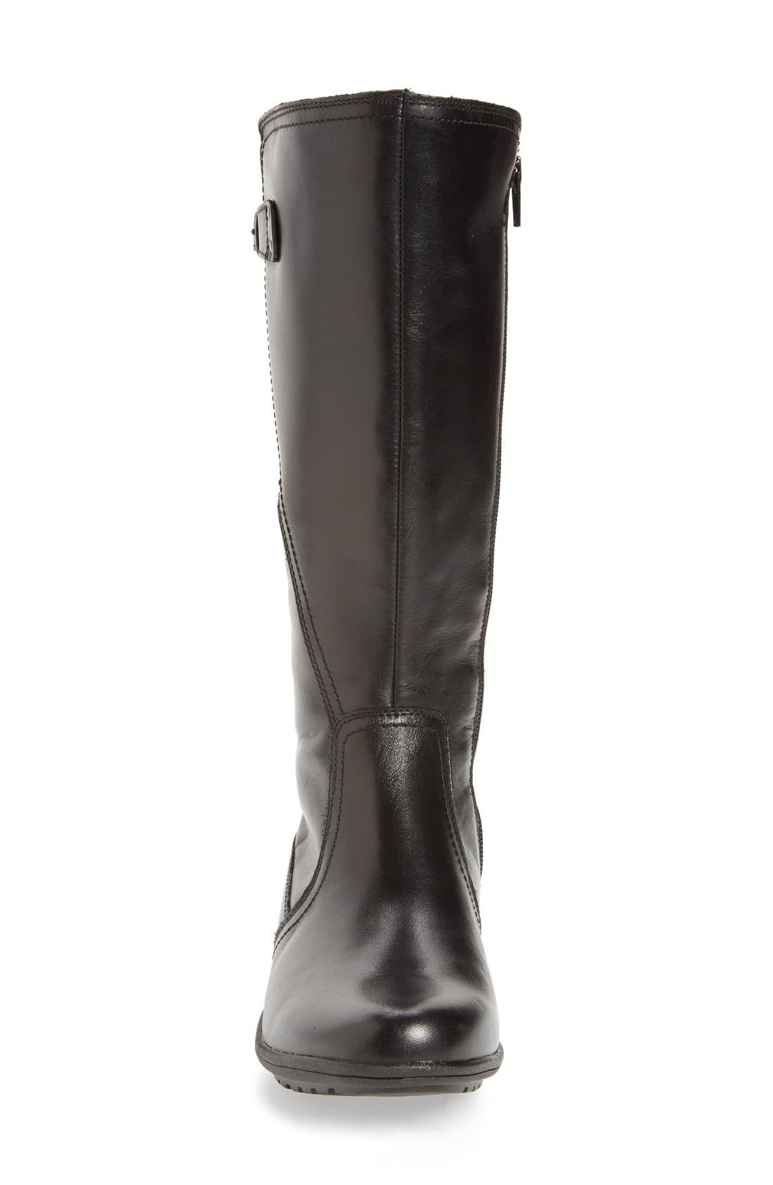 'Rayna' Waterproof Boot,                             Alternate thumbnail 4, color,                             BLACK/ BLACK LEATHER