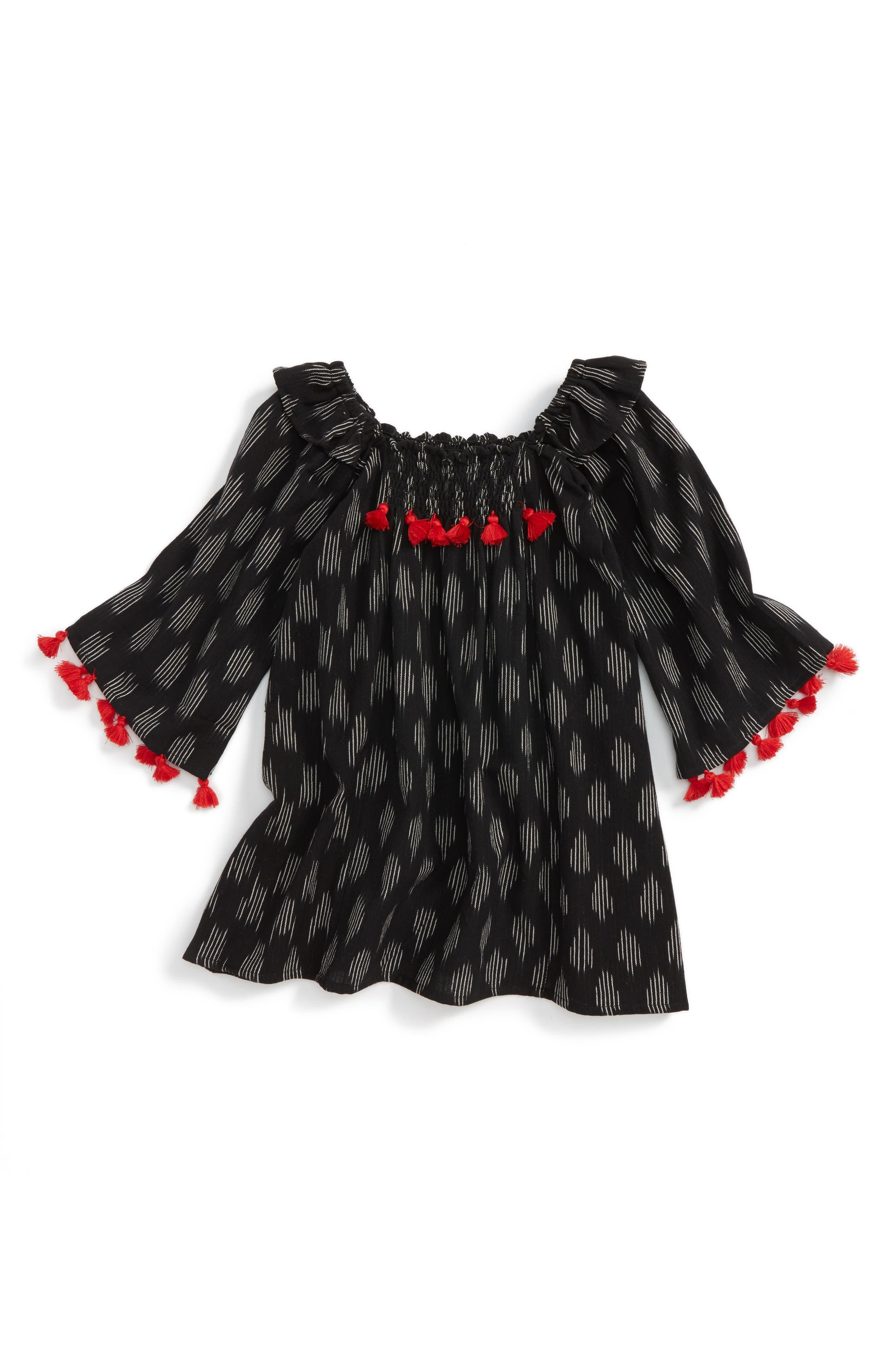Ekta Tassel Trim Dress,                         Main,                         color, 001