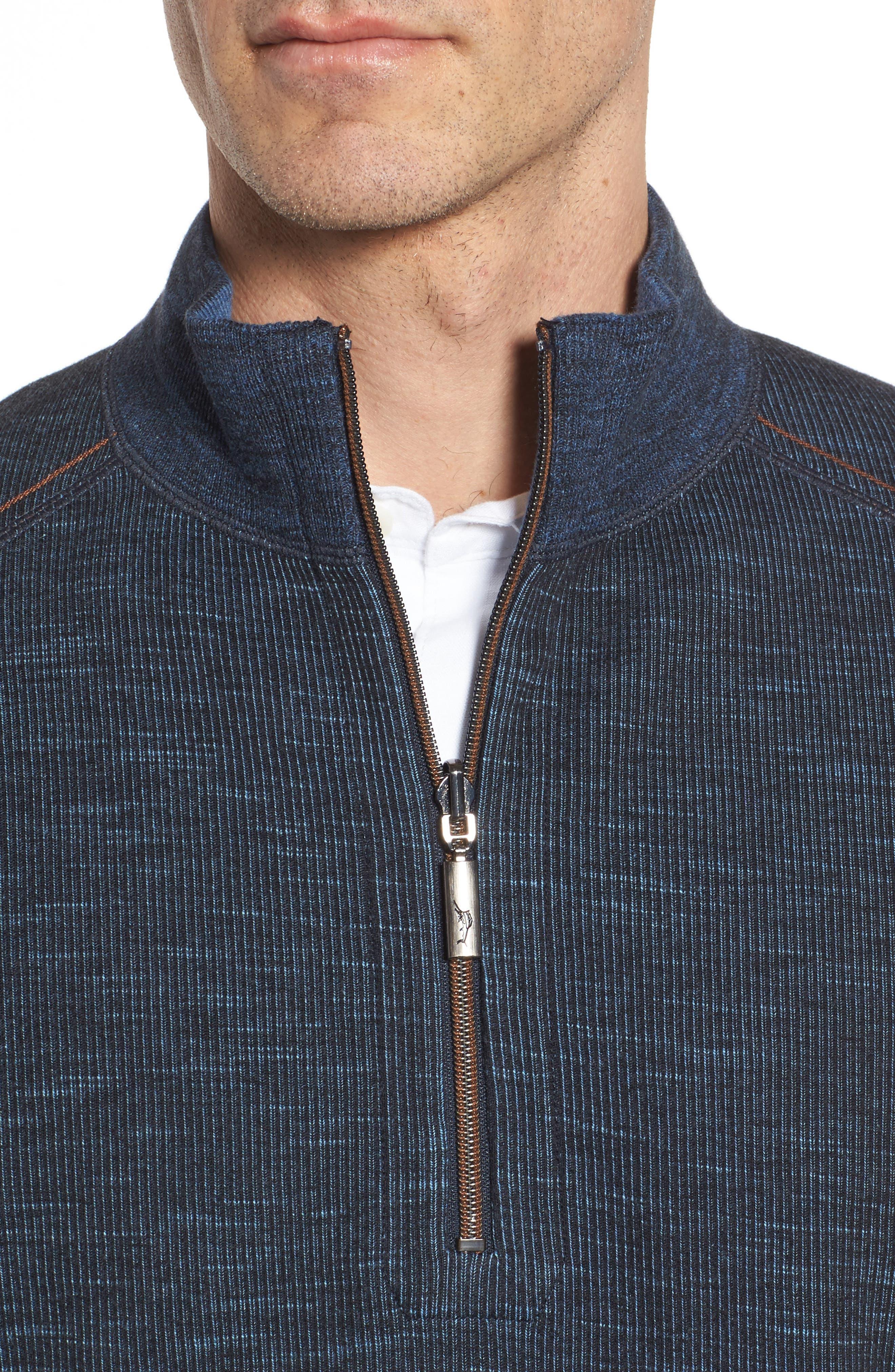 Flipsider Reversible Quarter-Zip Pullover,                             Alternate thumbnail 5, color,                             JET BLACK