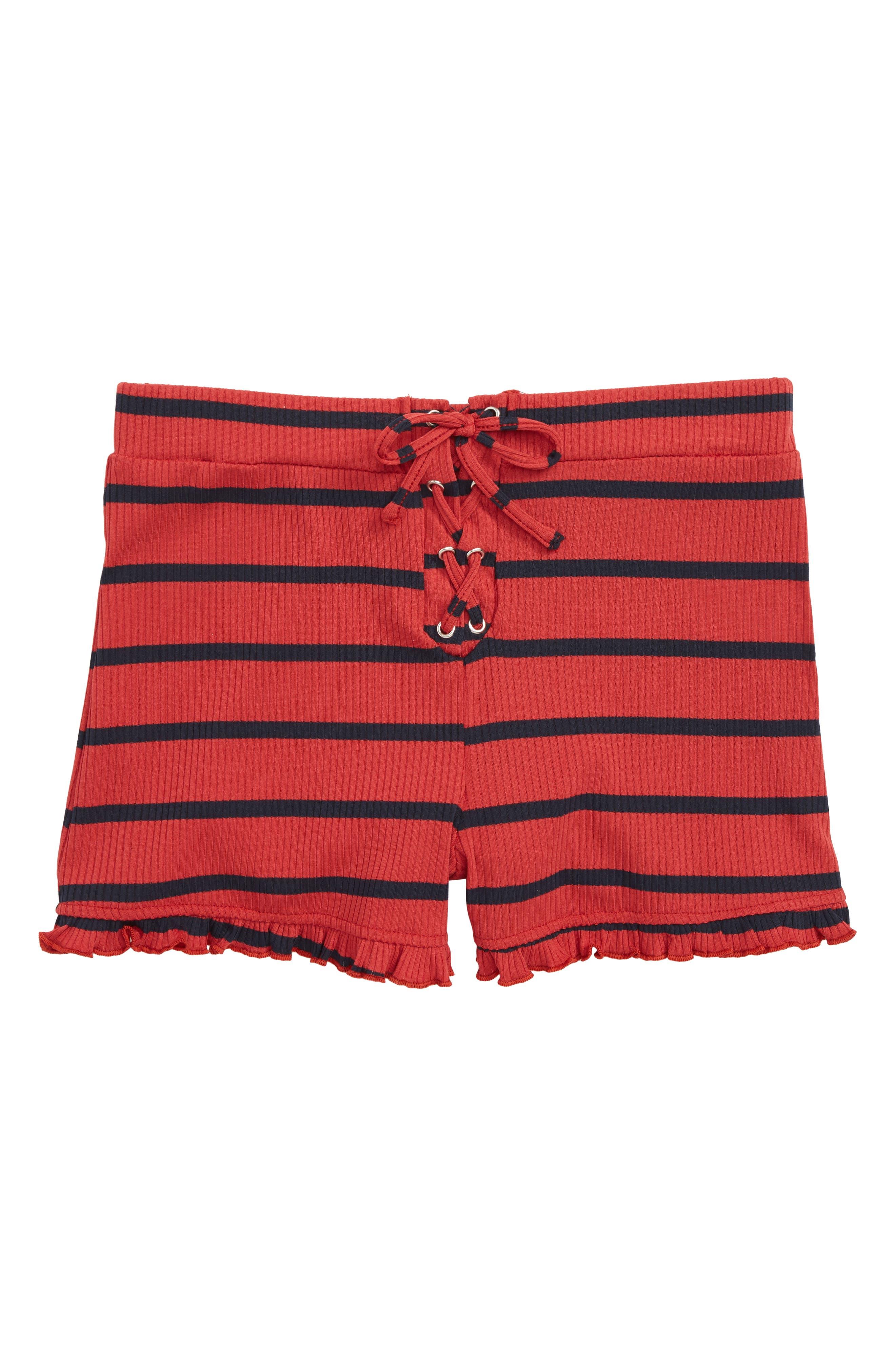 Stripe Ruffle Shorts,                             Main thumbnail 1, color,                             604