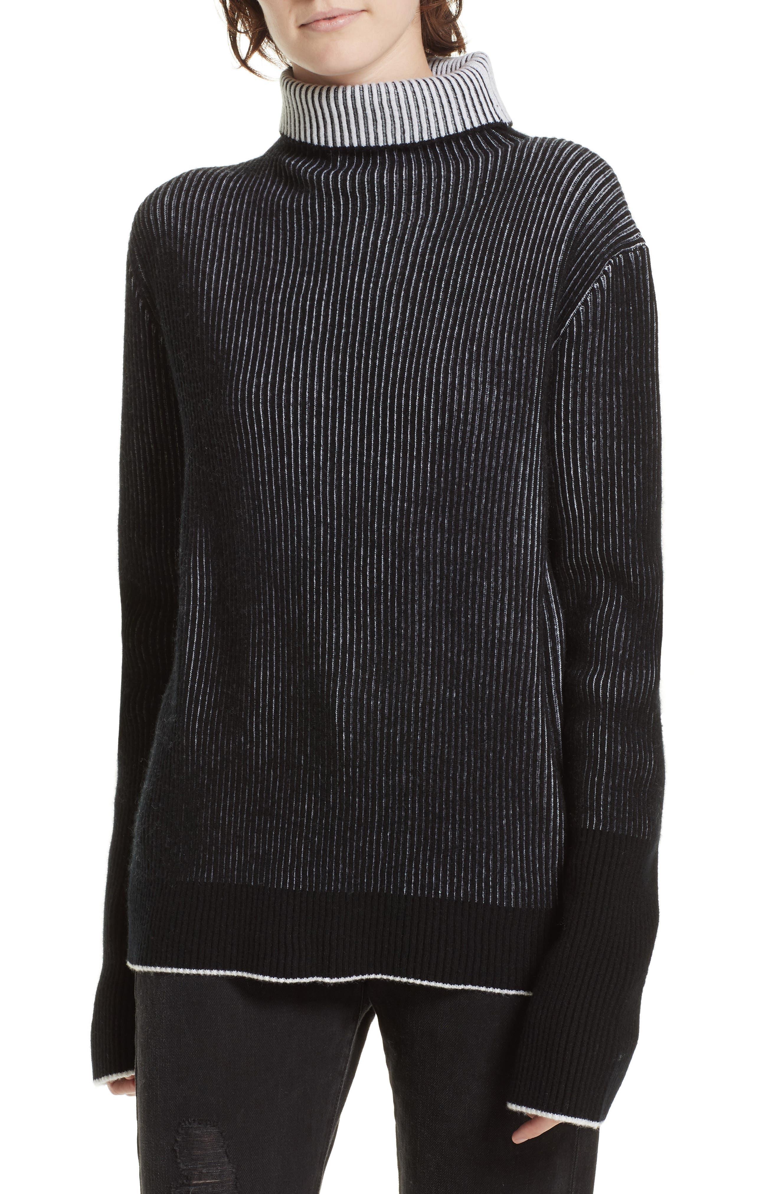 AAA Turtleneck Cashmere Sweater,                             Main thumbnail 1, color,                             BLACK/ CREAM