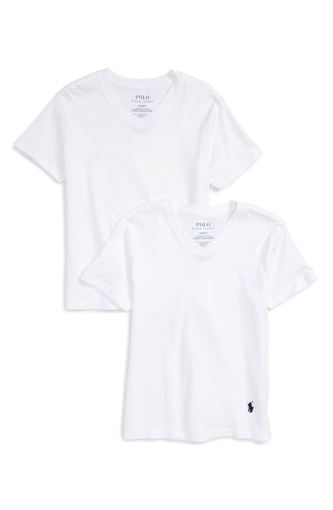 POLO RALPH LAUREN V-Neck T-Shirts, Main, color, 100