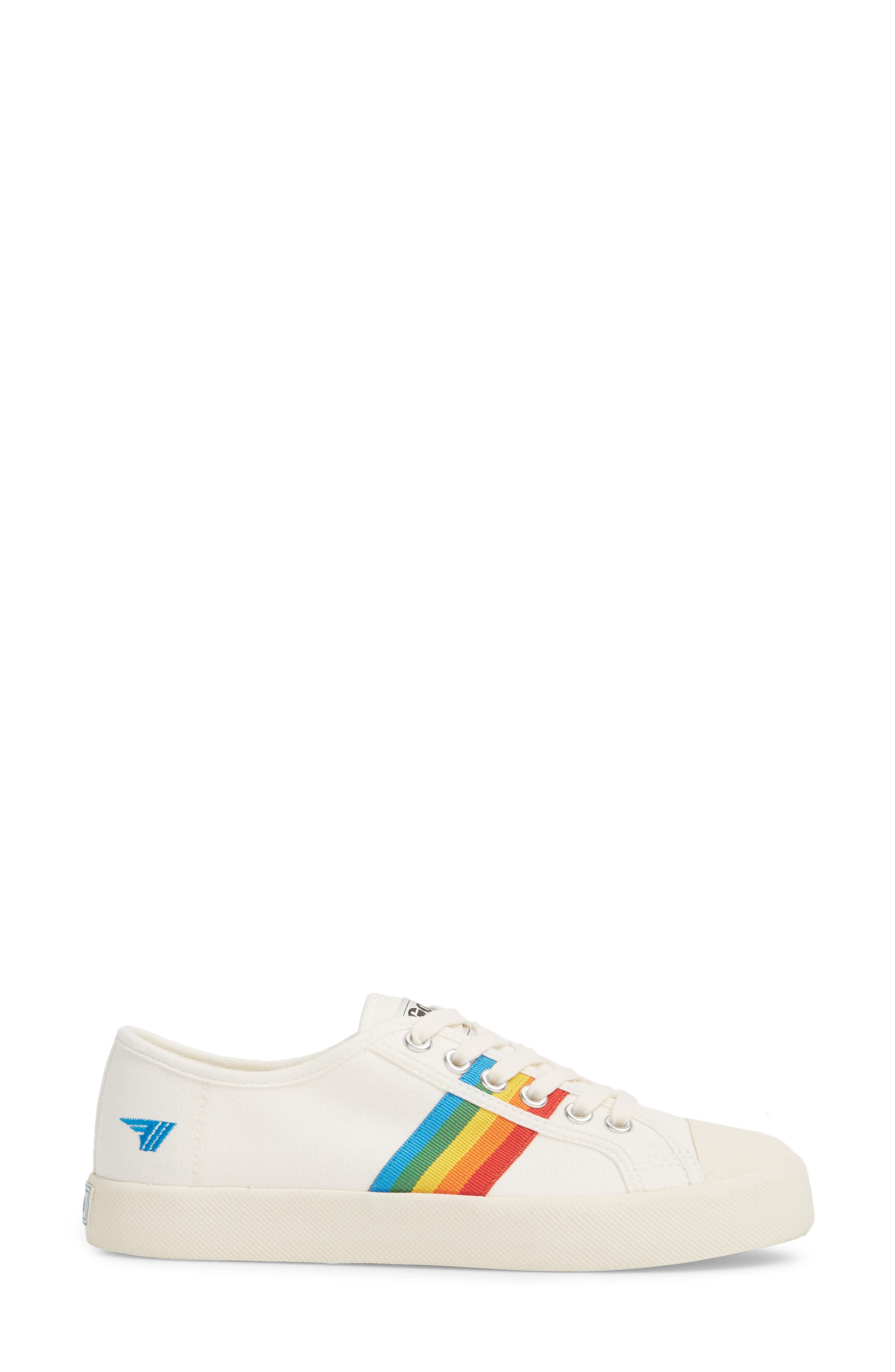 Coaster Rainbow Striped Sneaker,                             Alternate thumbnail 3, color,                             OFF WHITE/ MULTI CANVAS