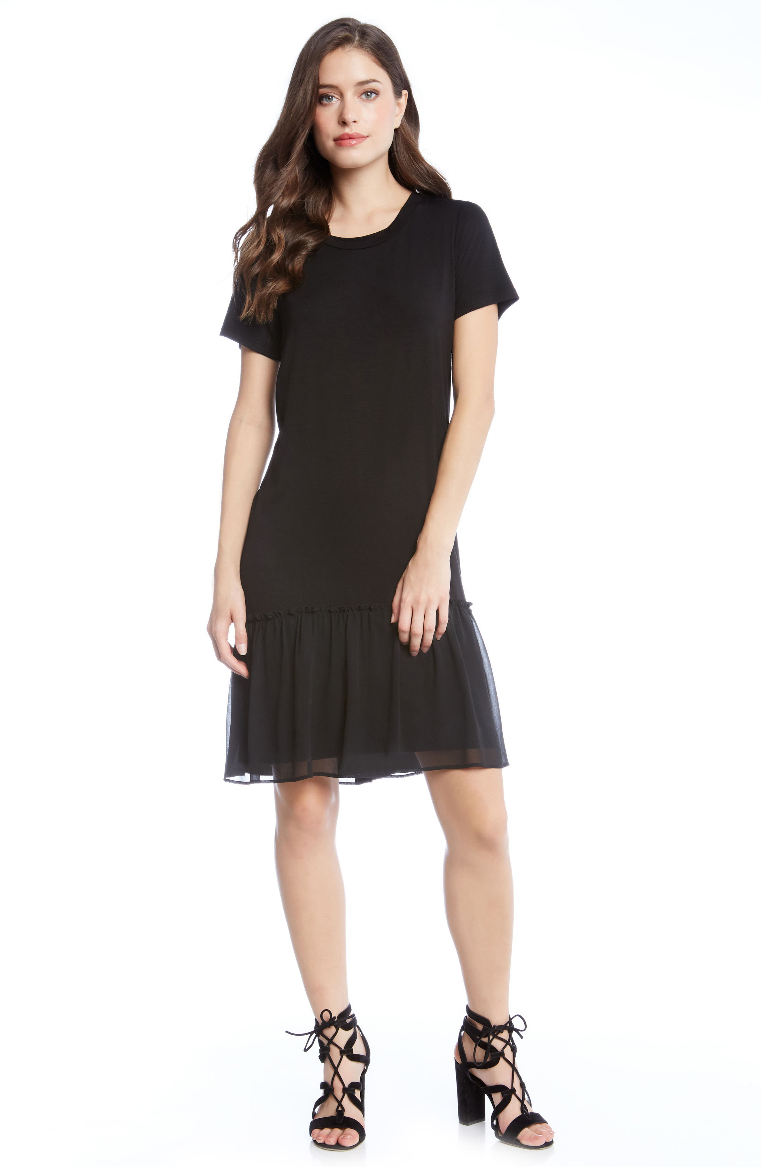 Ruffle Hem Dress,                             Alternate thumbnail 3, color,                             001